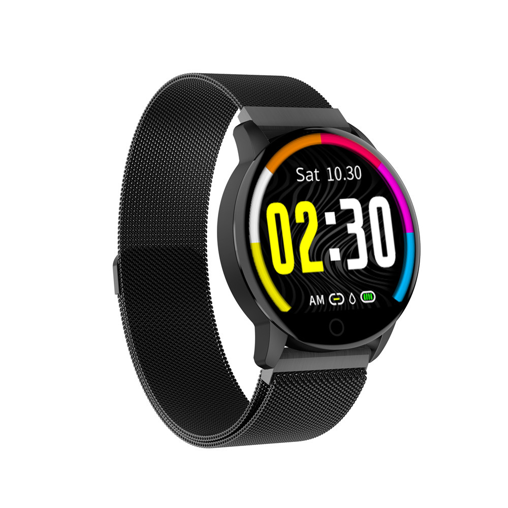 Makibes Q20 Smartwatch Blood Pressure Monitor 1.22 Inch IPS Screen IP67 Water Resistant Heart Rate Sleep Tracker Metal Strap - Black