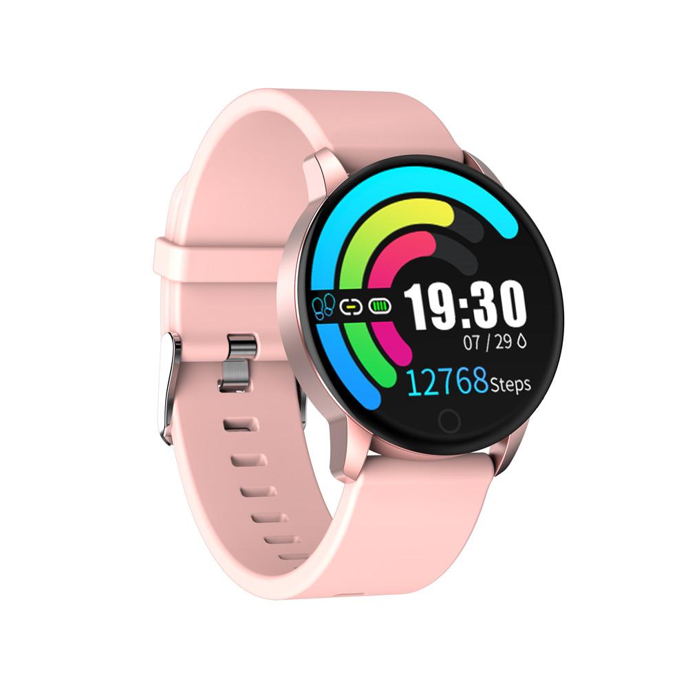 マキベスQ20スマートウォッチ血圧計1.22インチIPS画面IP67防水心拍数睡眠トラッカーシリコンストラップ - ピンク