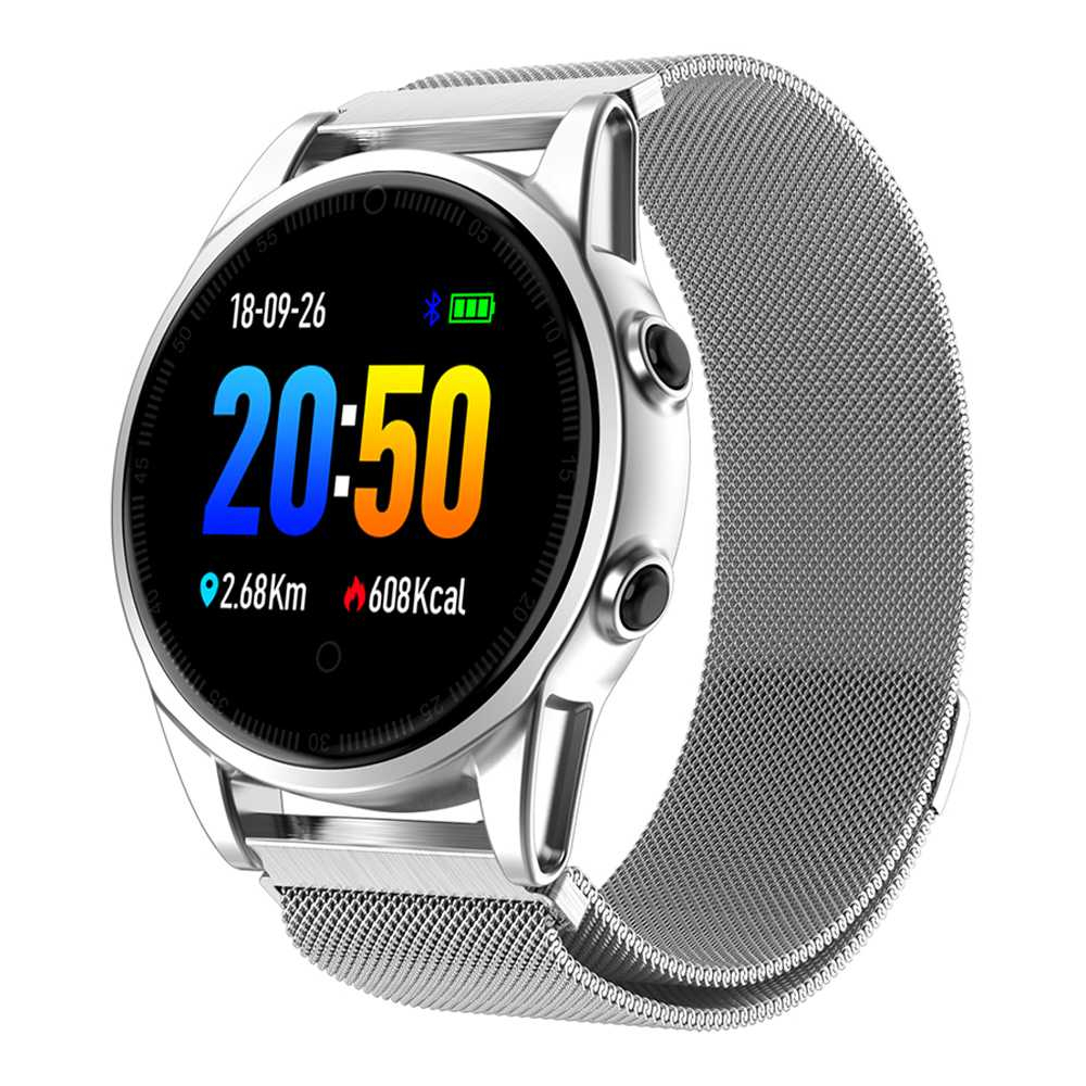 Makibes R13 Pro SmartWatch 1.22 Inch IPS Screen IP67 Heart Rate Blood Pressure Monitor Metal Strap - Silver