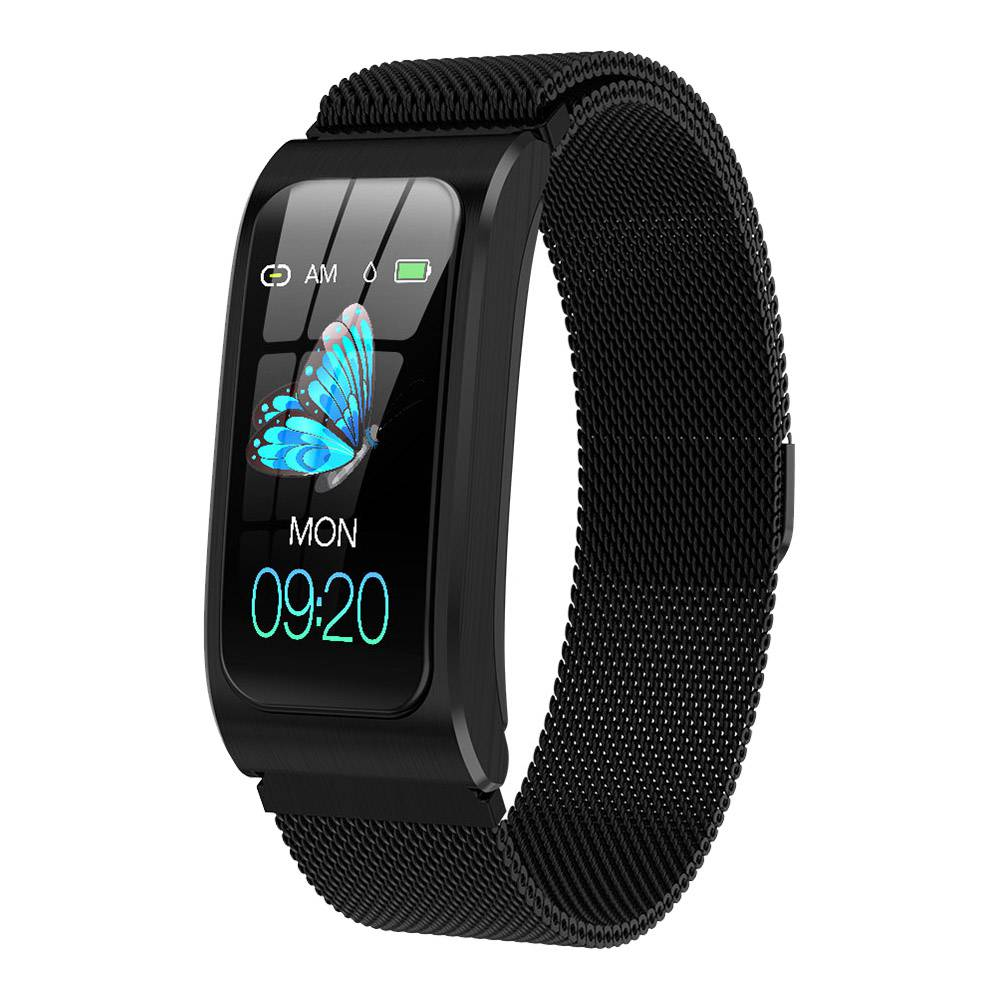 Makibes AK12 Smart Bracelet 1.14 Inches Screen IP68 Water Resistant Heart Rate Blood Pressure Monitor Fitness Tracker Metal Strap - Black
