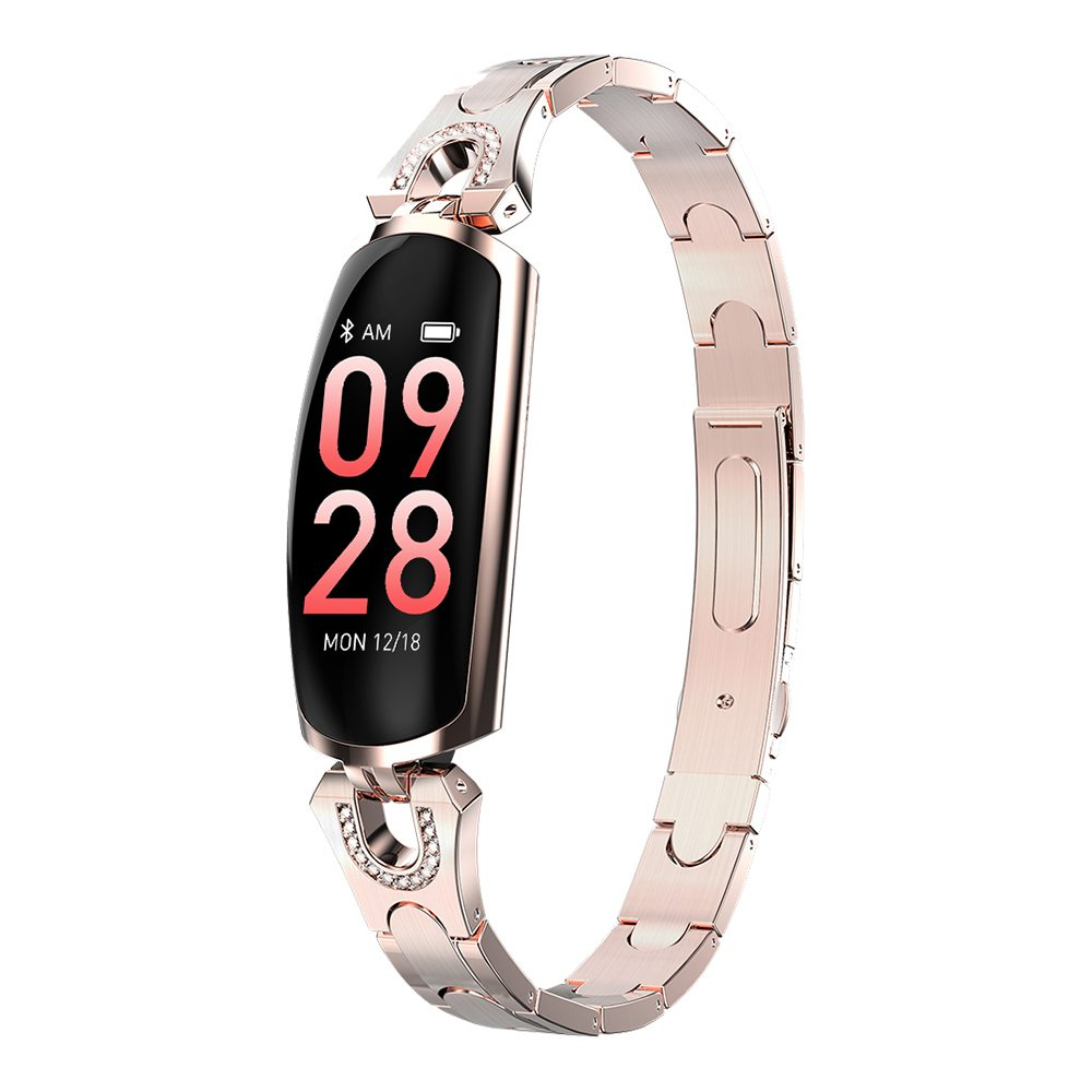 Makibes AK16 Smart Bracelet 0.96 Inches Colorful LCD Screen IP67 Water Resistant Heart Rate Blood Pressure Monitor Fitness Tracker - Gold