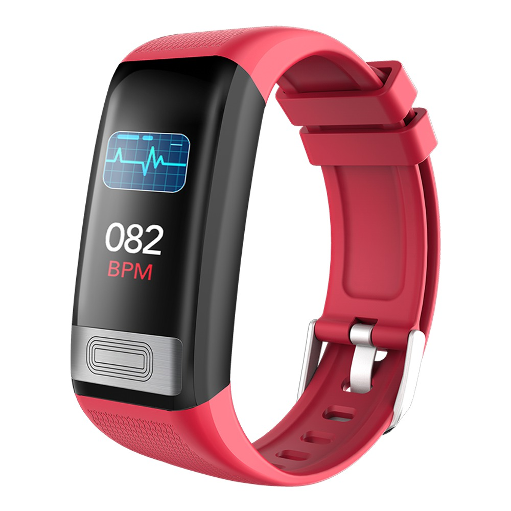 Makibes C20S Smart Bracelet Blood Oxygen Blood Pressure Monitor 1.14 Inch LCD Color Touch Screen IP67 Water Resistant Heart Rate Wristband - Red