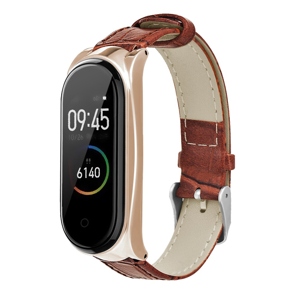 Replacement Strap For Xiaomi Mi Band 3/4 Smart Bracelet Brown Leather Metal Frame - Rose Golden