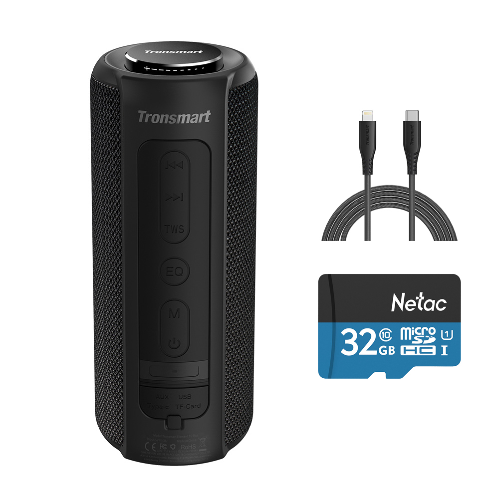 Tronsmart Element T6 Plus 40W Speaker + Apple MN certificato 6.6ft da USB C a cavo Lightning + 32GB TF Card