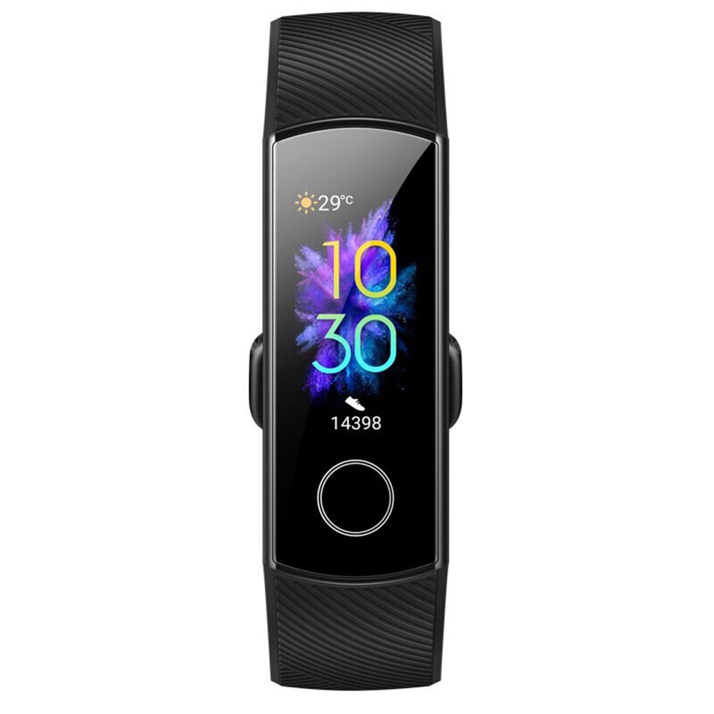 HUAWEI Honor Band 5 سوار ذكي الأكسجين في الدم 0.95 Inch AMOLED Touch شاشة ملونة كبيرة 5ATM رصد معدل ضربات القلب السباحة وضع الوقوف التعرف على النسخة العالمية - أسود