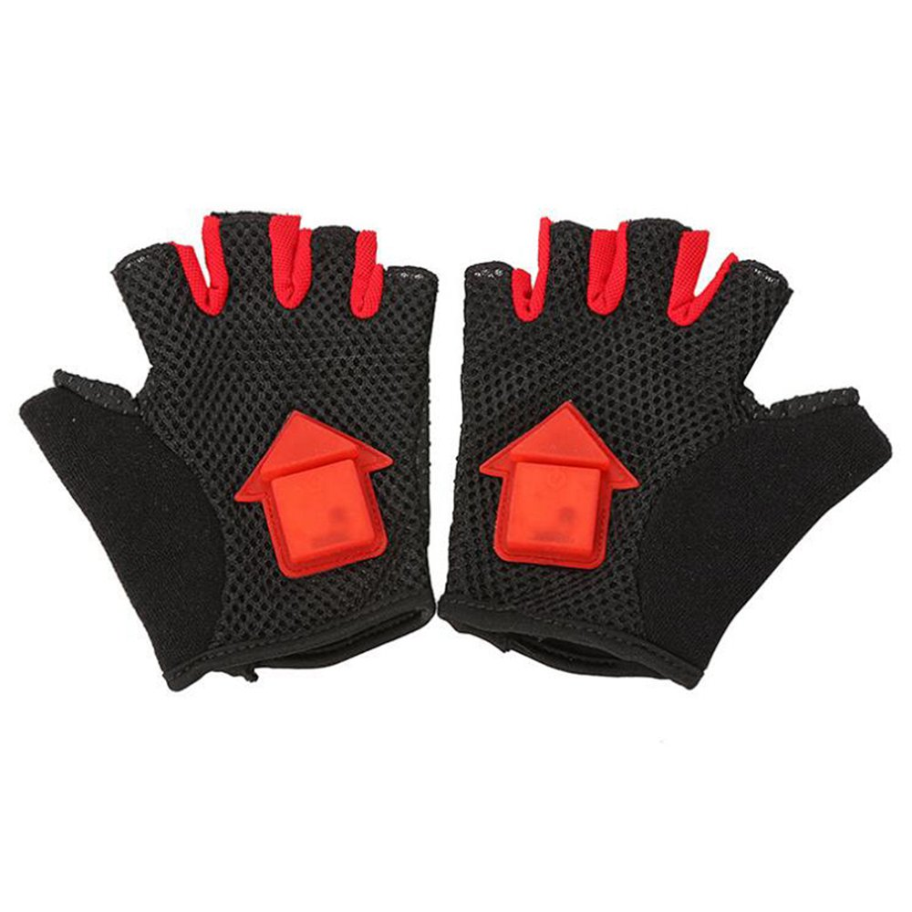 LED Intelligent Turn Light-emitting Cycling Gloves Outdoor Sports Shock Absorbing Gloves Size M - Black