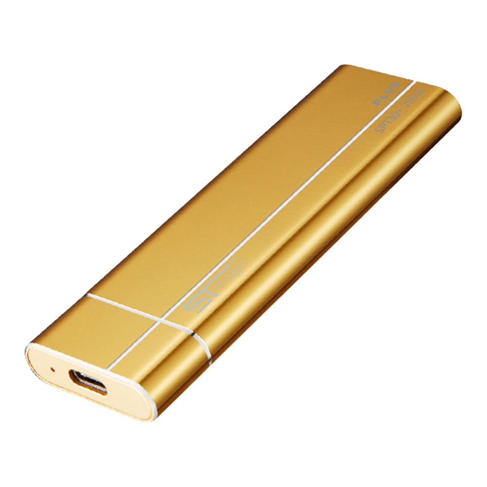 STmagic SPT30 Plus 512GB Mini Portable NVME SSD USB3.1 To Type-C Solid State Drive Read Speed 1900MB/s - Gold