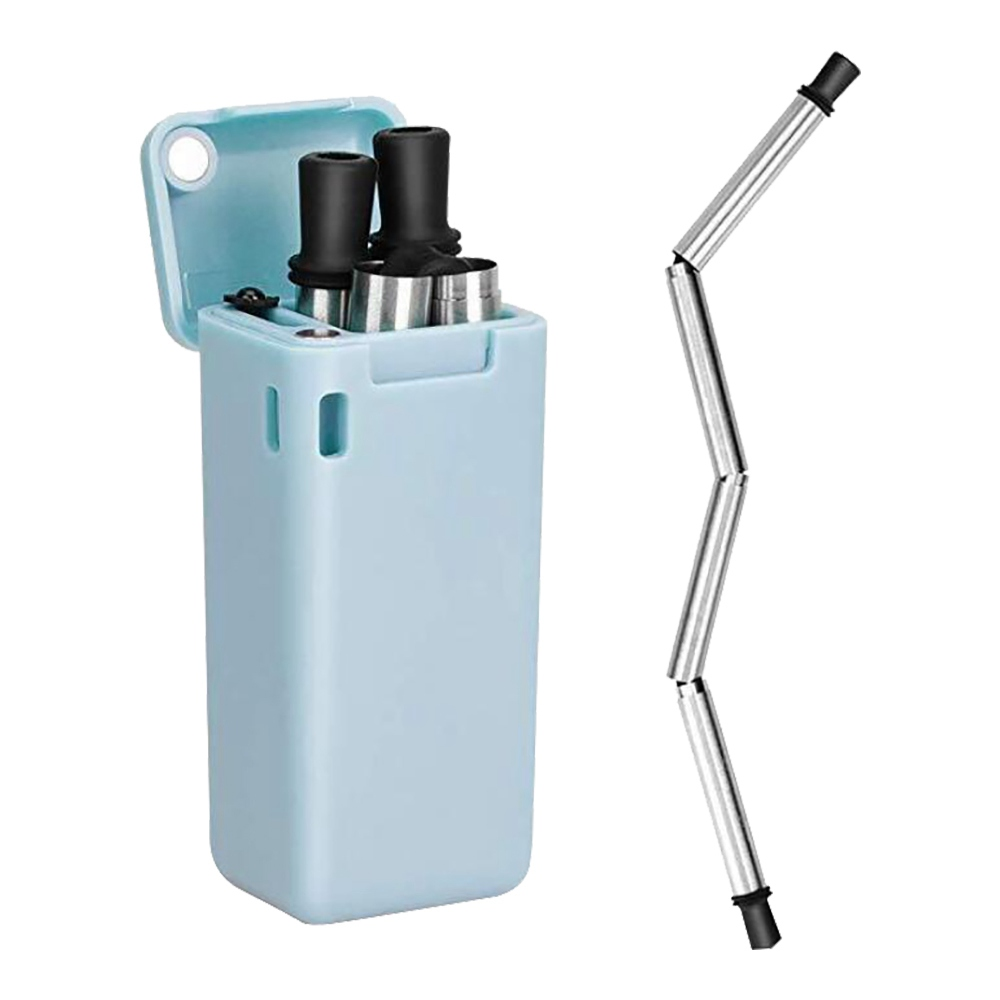 Portable Collapsible Straw Environmentally Friendly Stainless Steel with Storage Box - Blue