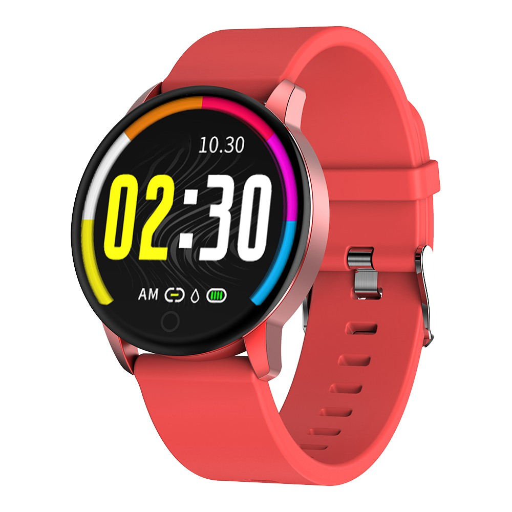 Makibes Q20 Smartwatch Blood Pressure Monitor 1.22 Inch IPS Screen IP67 Water Resistant Heart Rate Sleep Tracker Silicon Strap - Red