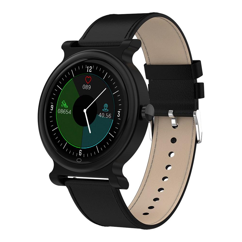 Makibes R20 Smartwatch 1.3 Écran LCD coloré Écran LCD Moniteur de fréquence cardiaque Bluetooth 4.1 Sangle en cuir pour le suivi de la forme physique - Noir