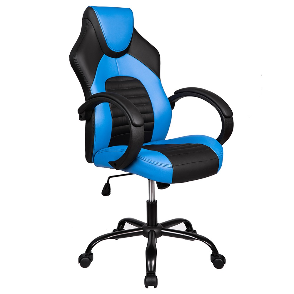 Merax SA-R-23BL Office High Back Gaming Chair PU Leather Rotating Lift Chair - Blue