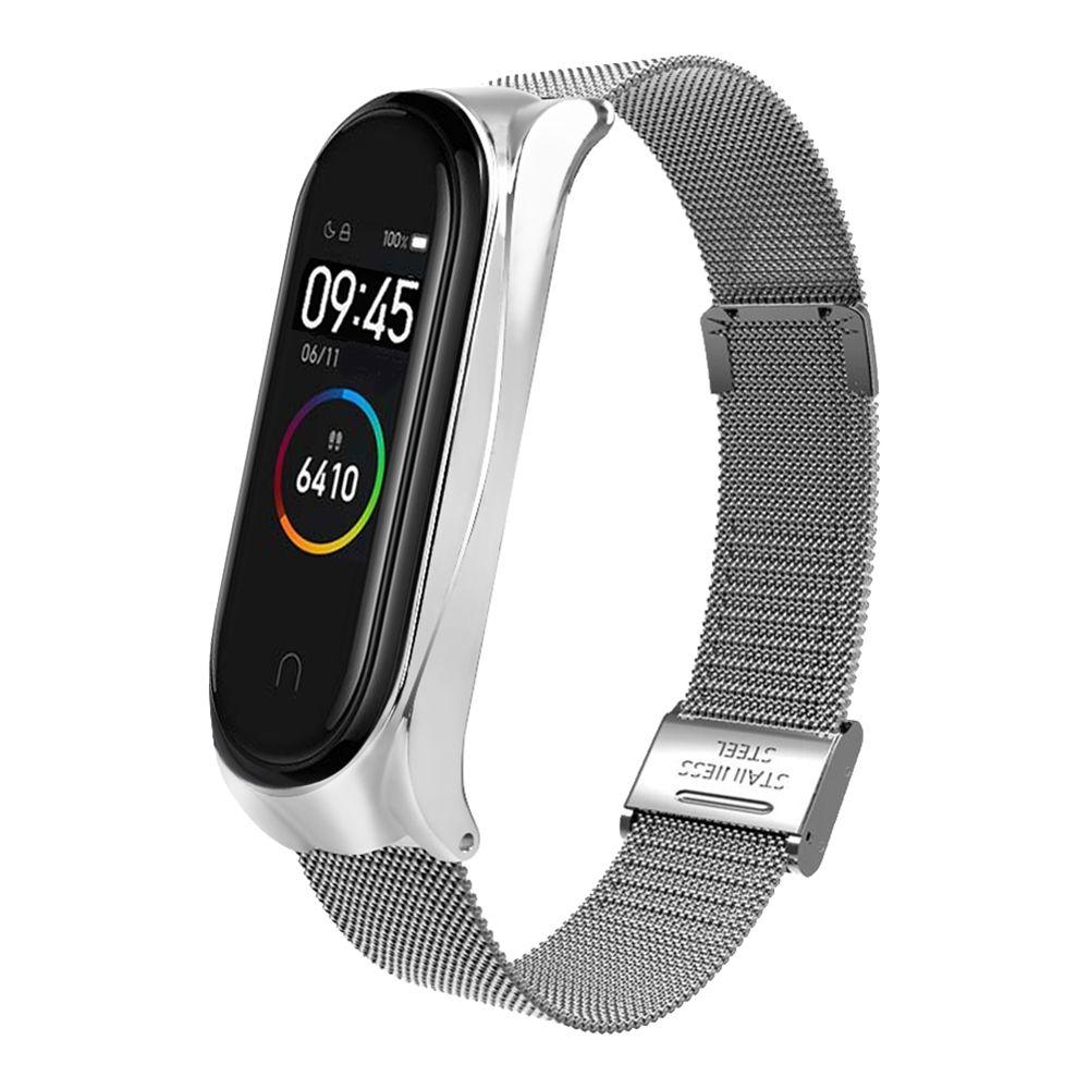 Ersatzriemen für Xiaomi Mi Band 3 / 4 Smart Armband Metal Mesh Belt Buckle Version - Silber