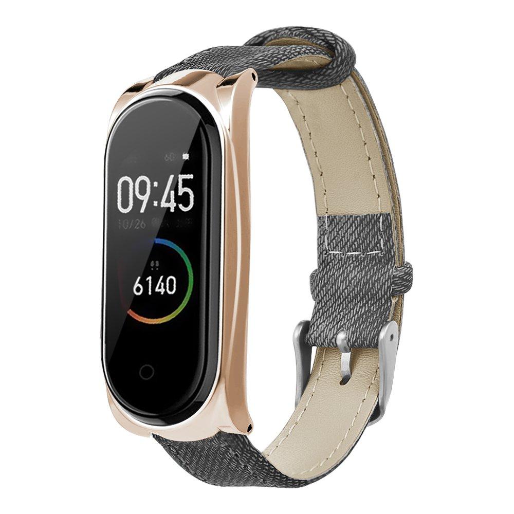 Ersatzriemen für Xiaomi Mi Band 3 / 4 Smart Armband Gray Denim Metal Frame - Rose Golden