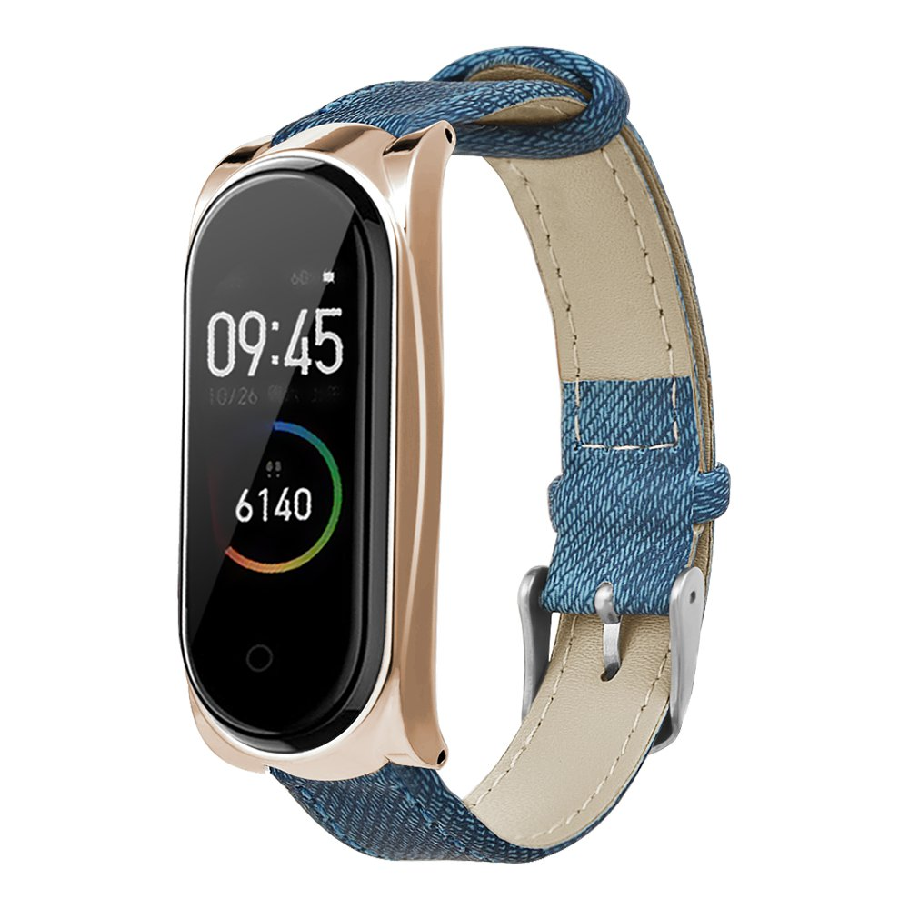 Ersatzriemen für Xiaomi Mi Band 3 / 4 Smart Armband Blue Denim Metallrahmen - Rose Golden
