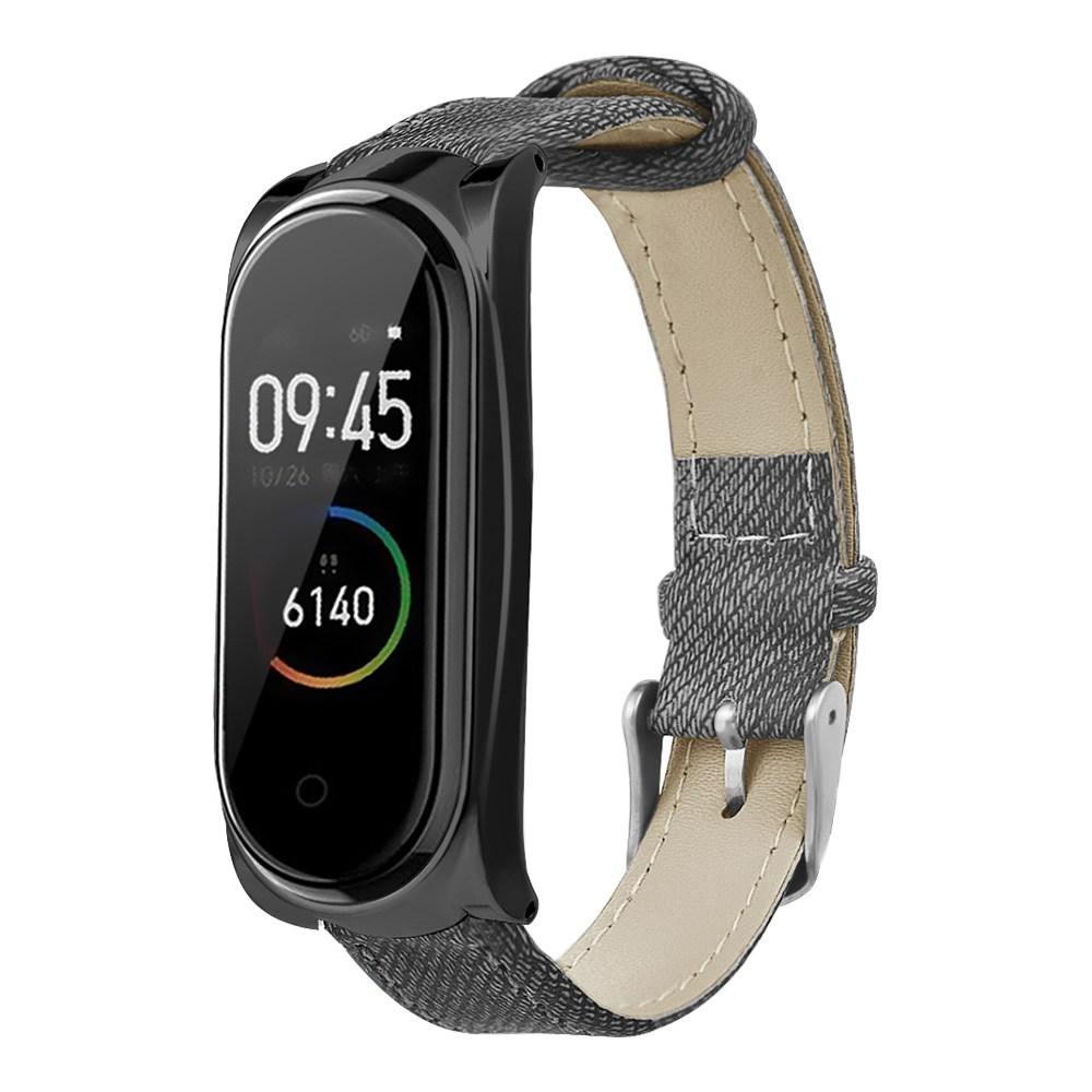 Ersatzriemen für Xiaomi Mi Band 3 / 4 Smart Armband Gray Denim Metal Frame - Schwarz