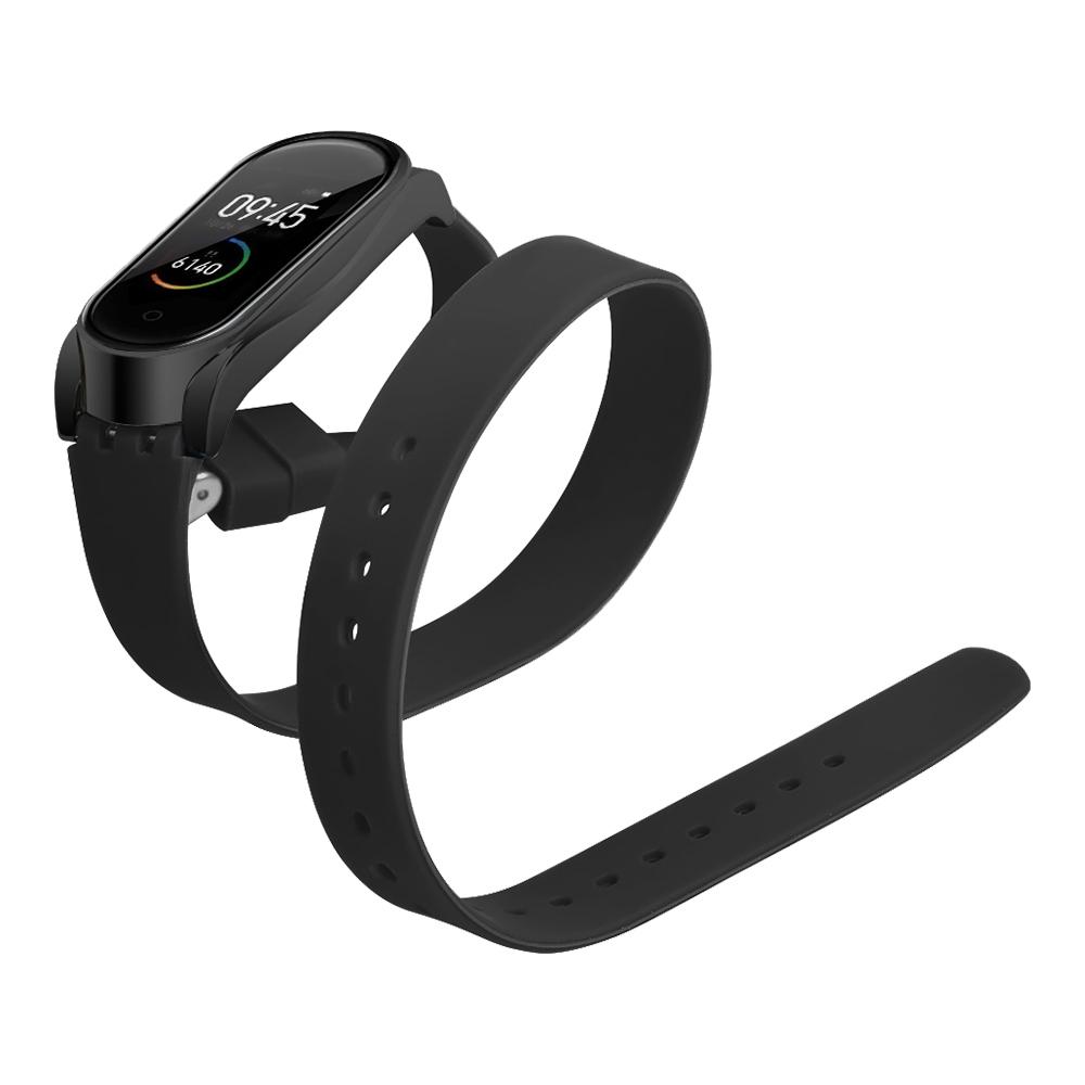 Pótpánt a Xiaomi Mi Band 3 / 4 intelligens karkötőhöz, hosszú szilikon övcsattal - fekete