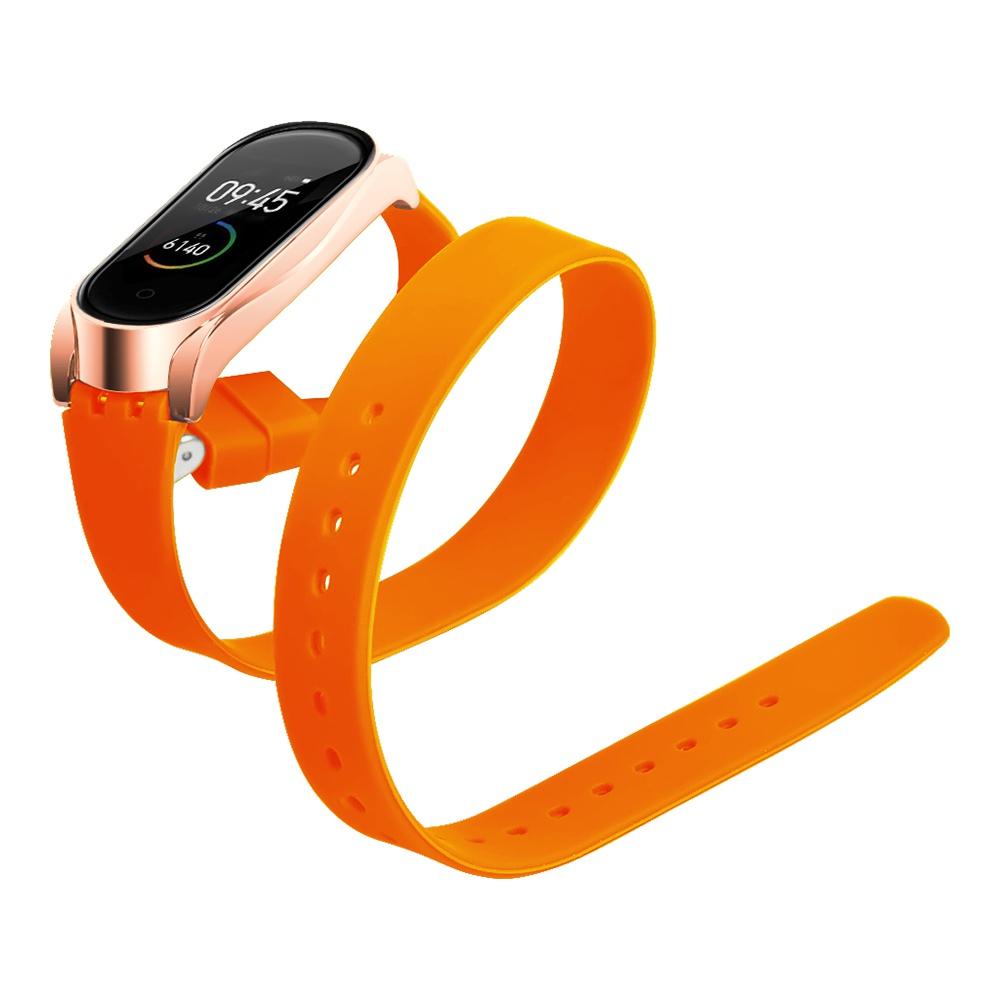 Pótpánt a Xiaomi Mi Band 3 / 4 intelligens karkötőhöz, hosszú szilikon övcsattal - narancssárga