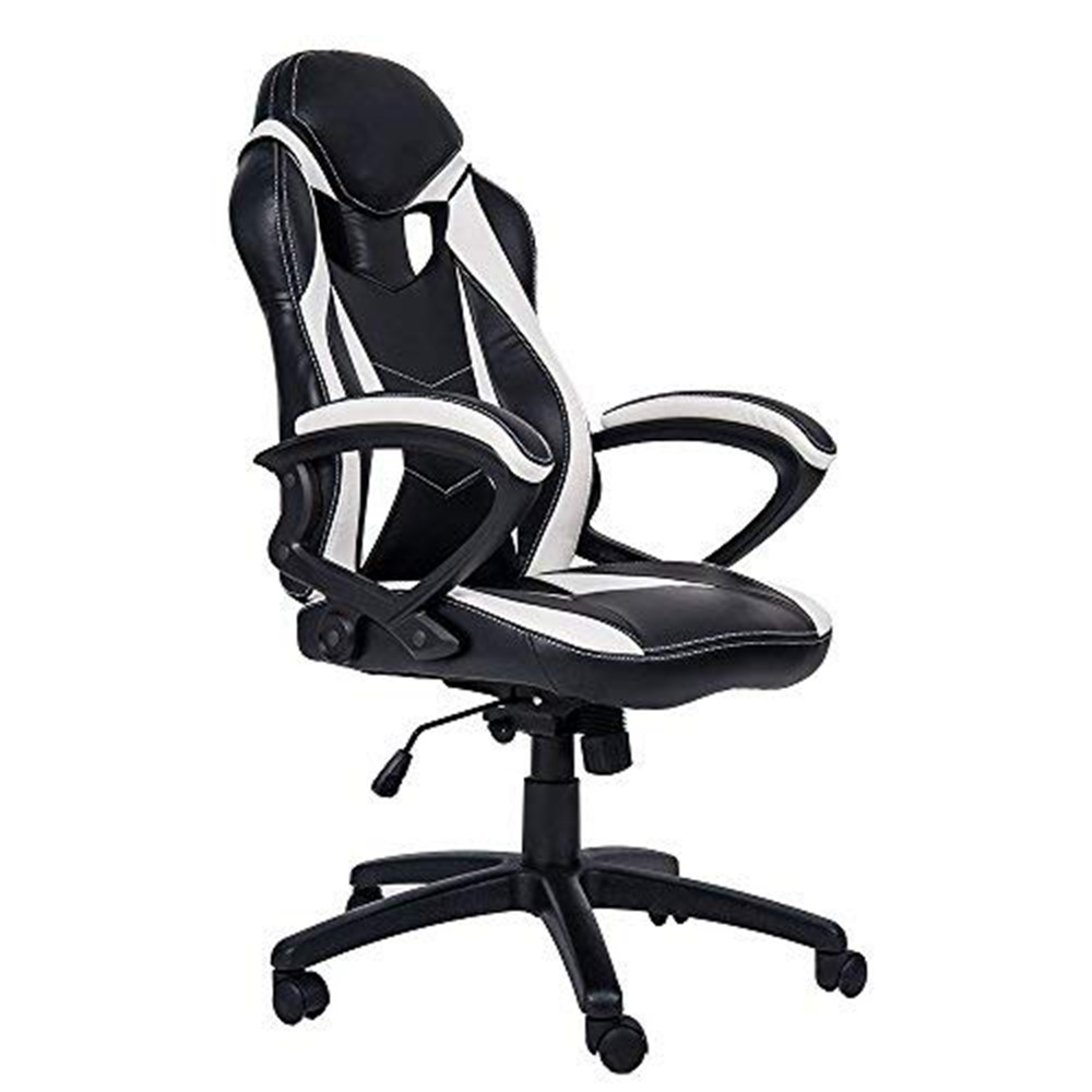 Merax Ergonomic Gaming Chair Leather Adjustable Executive High Back Swivel Office Chair - White