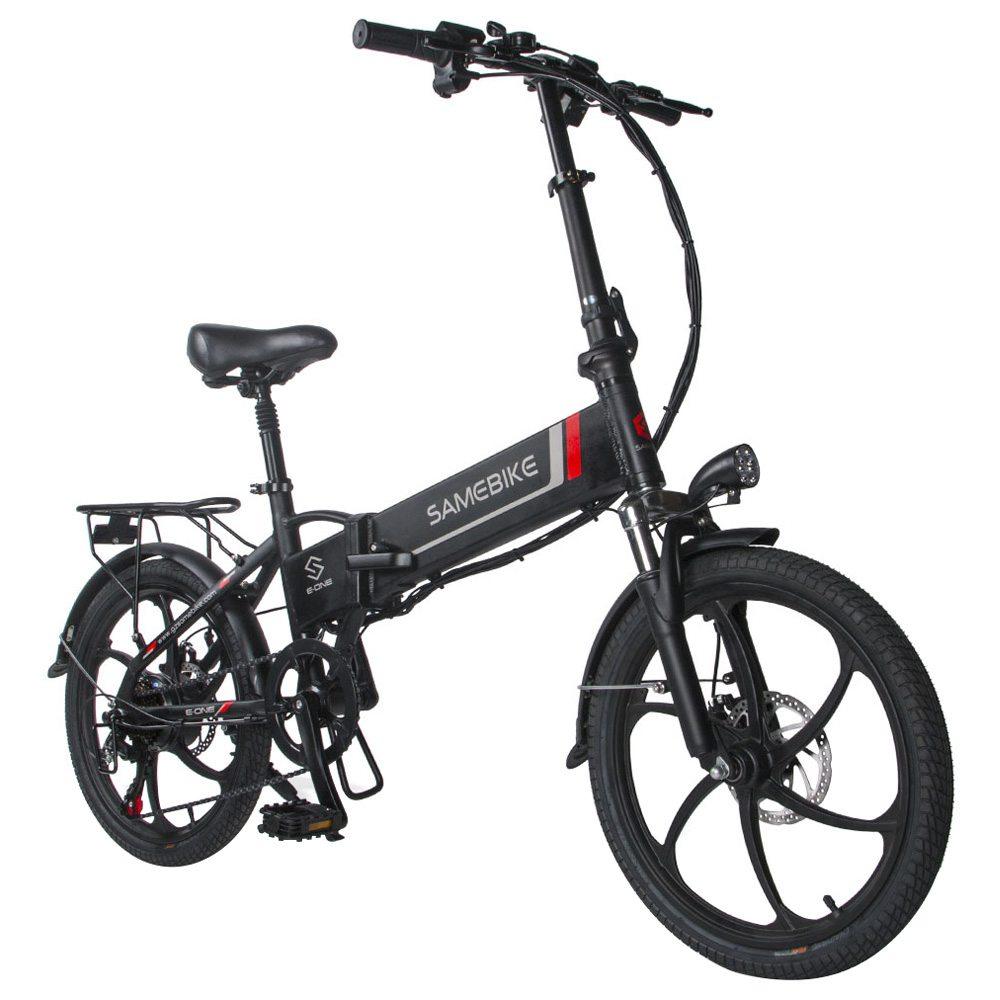 Samebike 20LVXD30 Tragbares zusammenklappbares Smart Electric 10Ah Batterie Moped Fahrrad 350W Motor Max 35km / h 20 Zoll Reifen - Schwarz