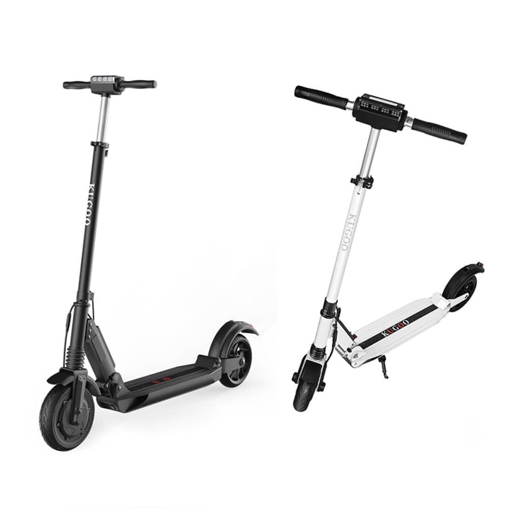 [Juego de dos] KUGOO S1 Scooter eléctrico plegable 350W Motor Pantalla LCD Pantalla 3 Modos de velocidad 8.0 Pulgadas Neumático antideslizante trasero sólido - Negro + Blanco