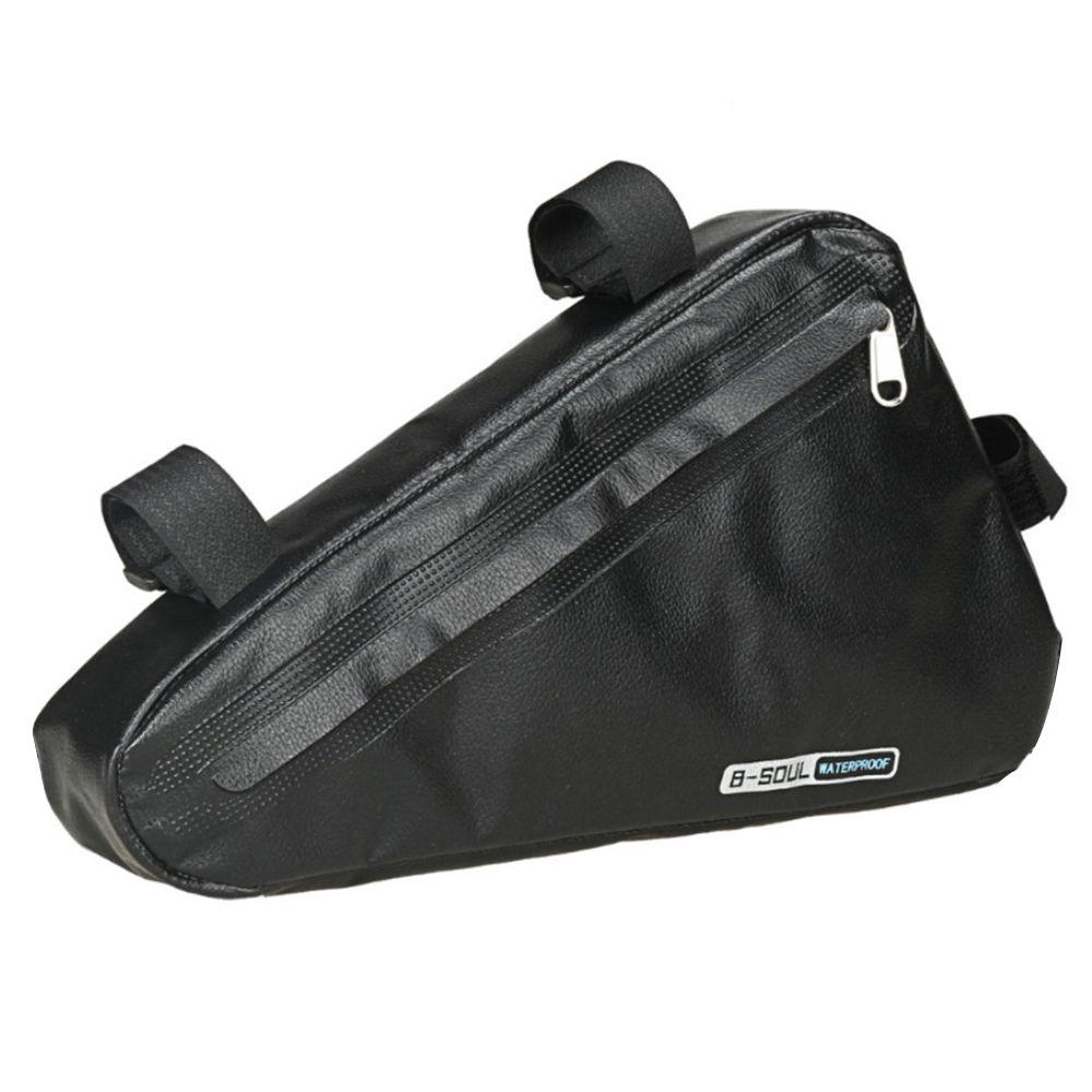 B-SOUL自転車トライアングルバッグ1.5L大容量完全防水アッパーパイプサドルフロントビームバッグ-ブラック