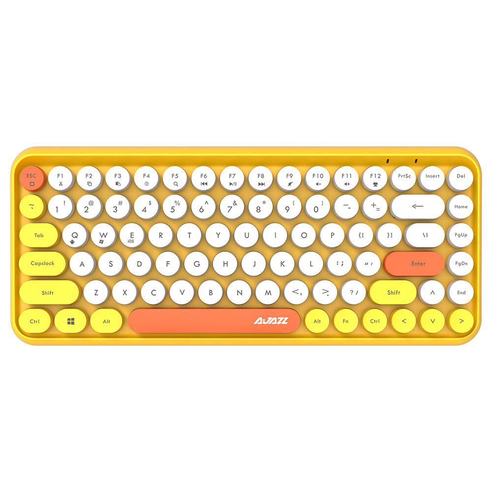 Ajazz 308i Bluetooth Wireless Keyboard 84 Classic Round Keys - Yellow
