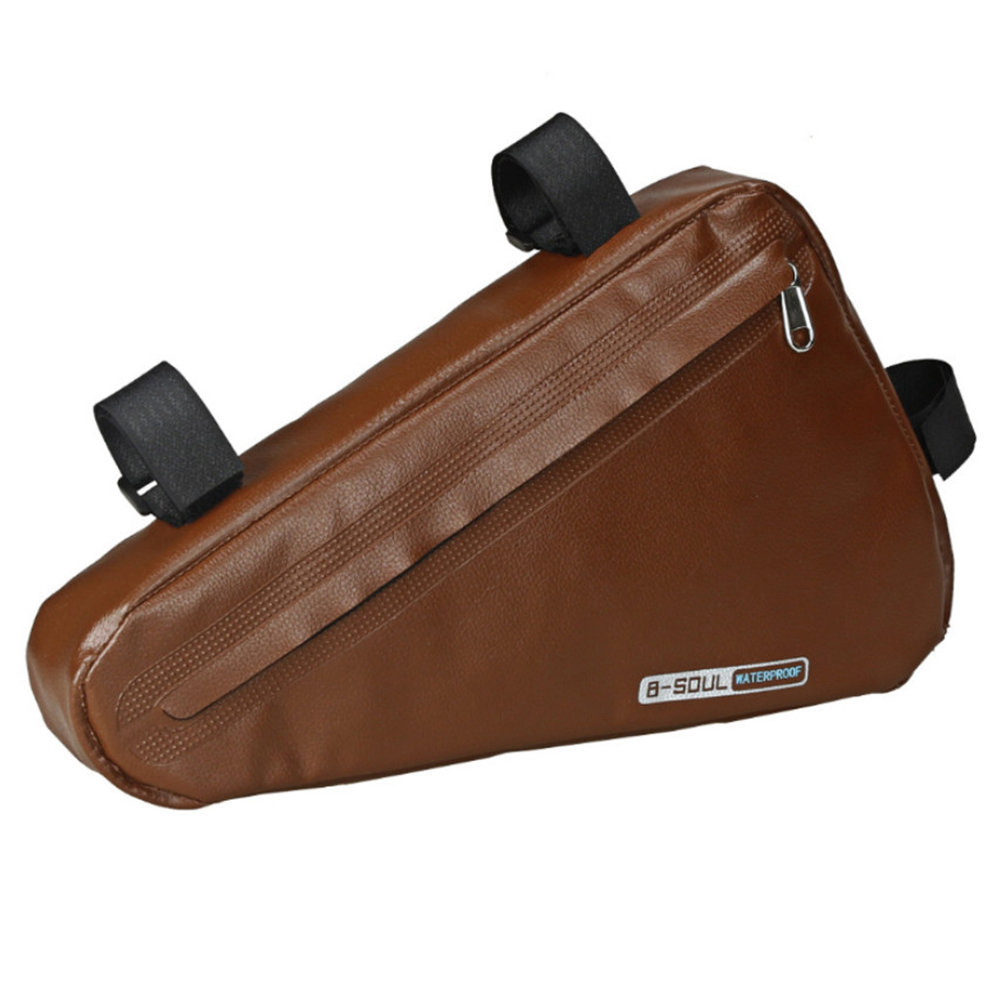 B-SOUL Bicycle Triangle Bag 1.5L Large Capacity Fully Waterproof Upper Pipe Saddle Front Beam Bag - Dark Brown