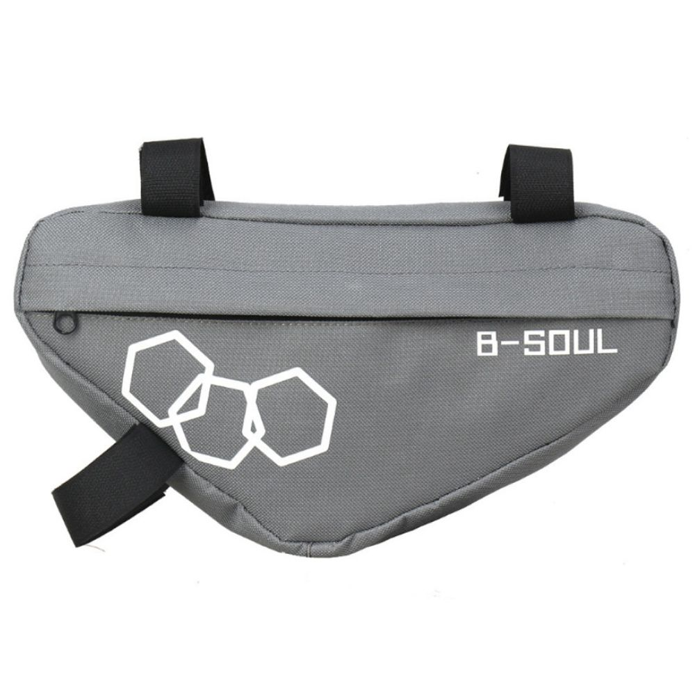 B-SOUL自転車トライアングルバッグ大容量完全上部パイプサドルフロントビームバッグ-グレー
