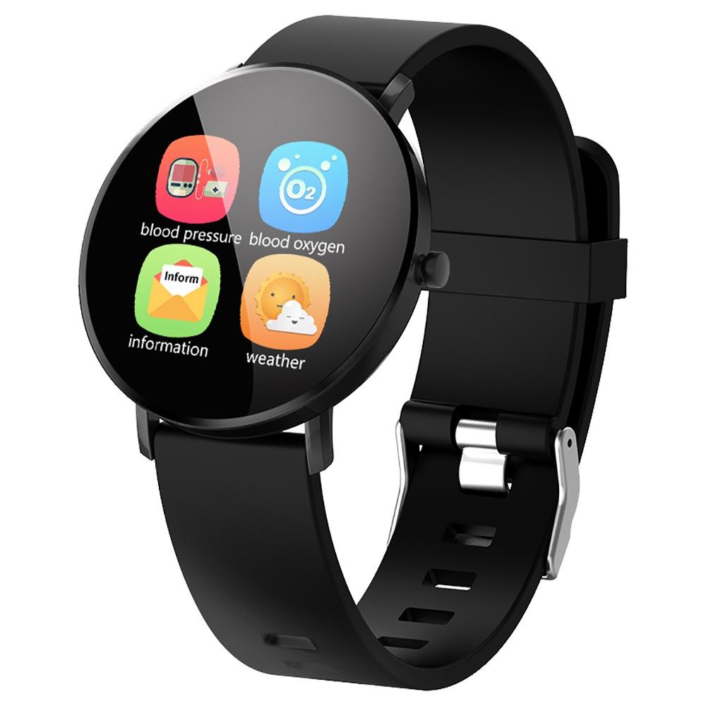 MAKIBES F25 ساعة ذكية 1.3 بوصة شاشة TFT معدل ضربات القلب ومراقبة ضغط الدم النوم سيليكون الشريط - أسود
