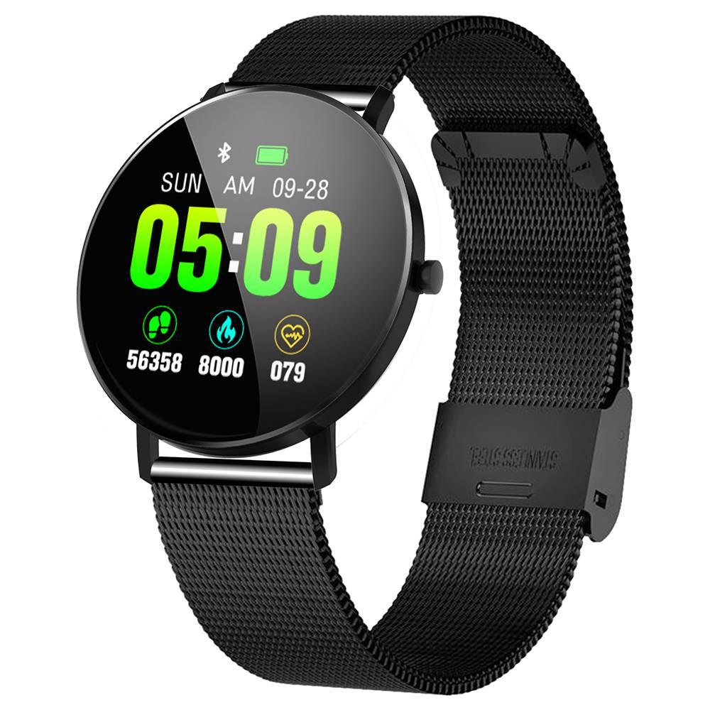 MAKIBES F25 ساعة ذكية 1.3 بوصة شاشة TFT معدل ضربات القلب وضغط الدم النوم مراقب حزام معدني - أسود