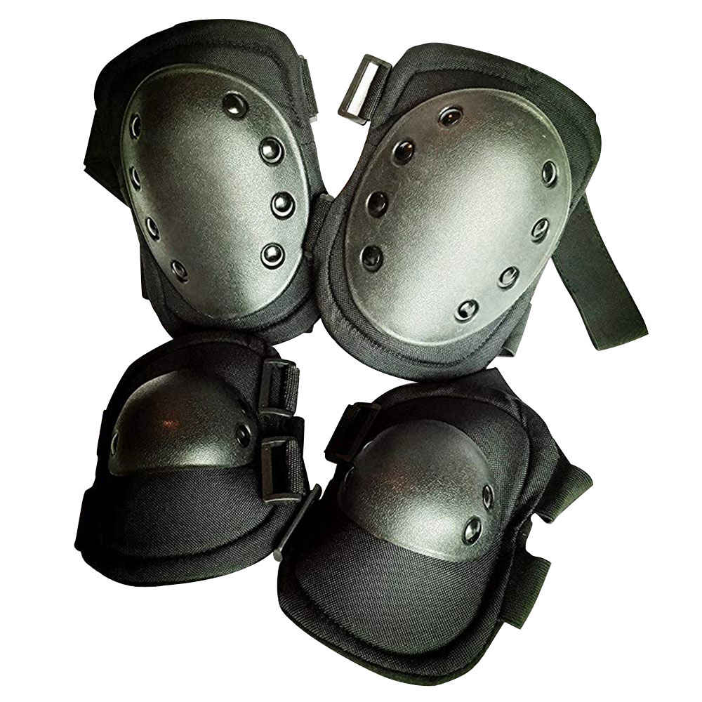 Bike & Scooter Knee And Elbow Pads Outdoor Hiking Mountain Safety Gear - Black