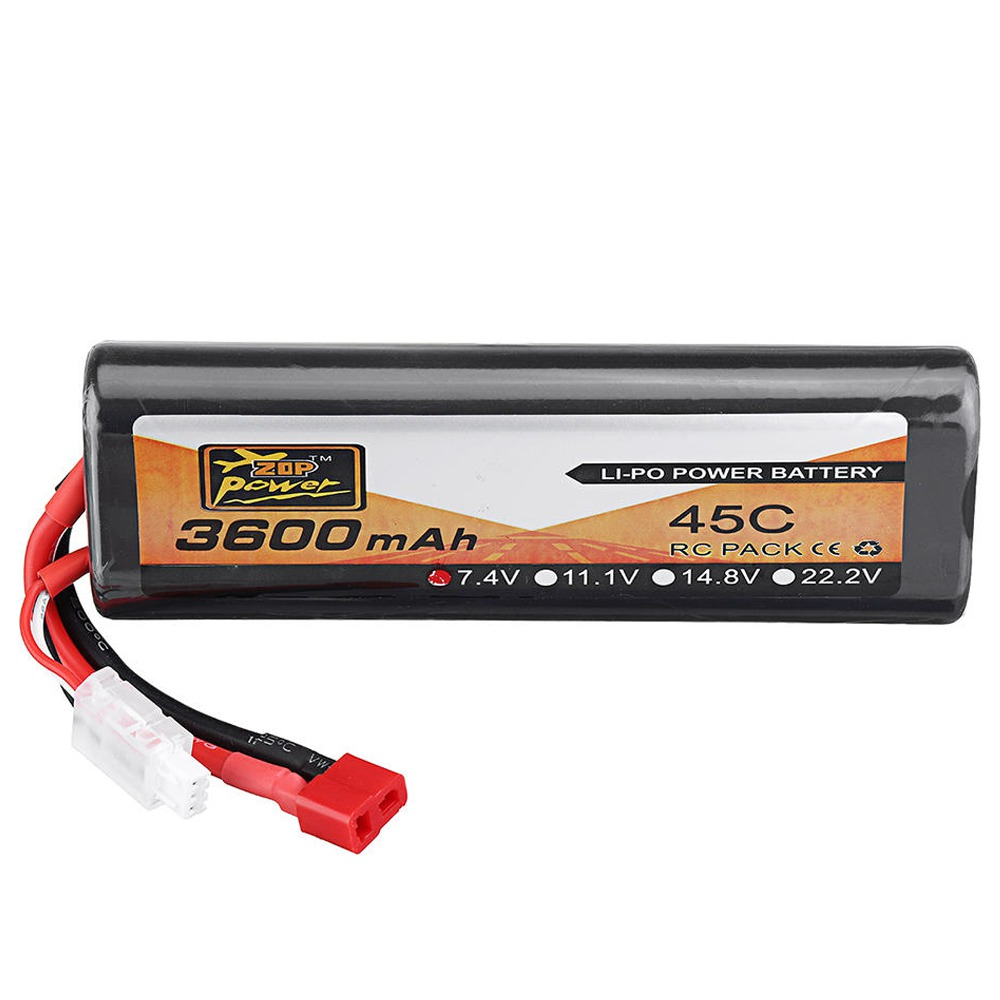 ZOP Power 2S 7.4V 3600mAh 45C T Plug Oval Lipo Battery For RC Car Model FPV Racing Drone RC Airplane Helicopter