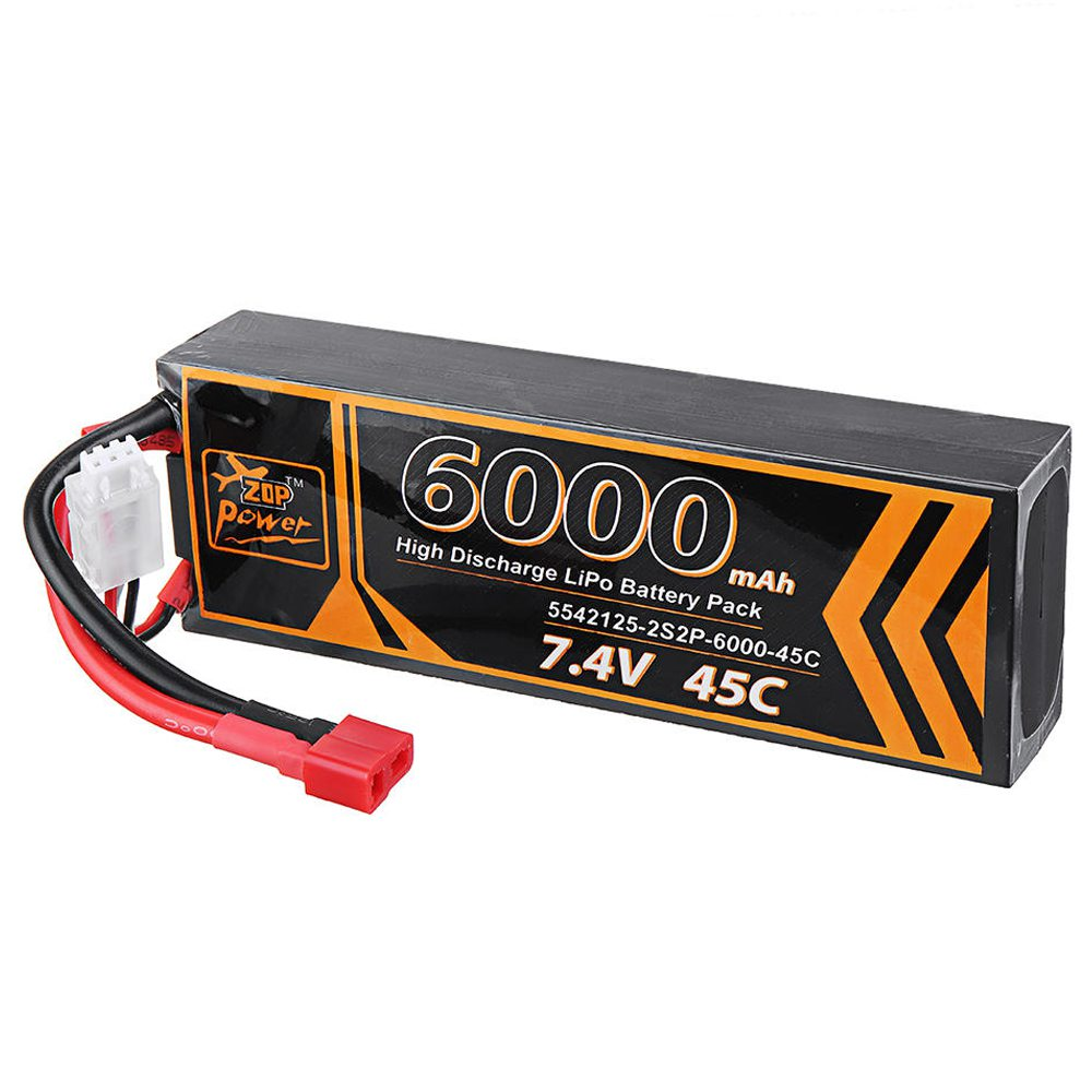 ZOP Power 2S 7.4V 6000mAh 45C T Plug Lipo Battery For RC Car Model FPV Racing Drone RC Airplane Helicopter