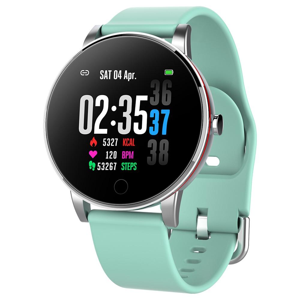 Makibes Y9 Smart Watch 1.3 Pollici Frequenza cardiaca in tempo reale Ossigeno nel sangue Monitor per la pressione arteriosa Cinturino in silicone - Verde