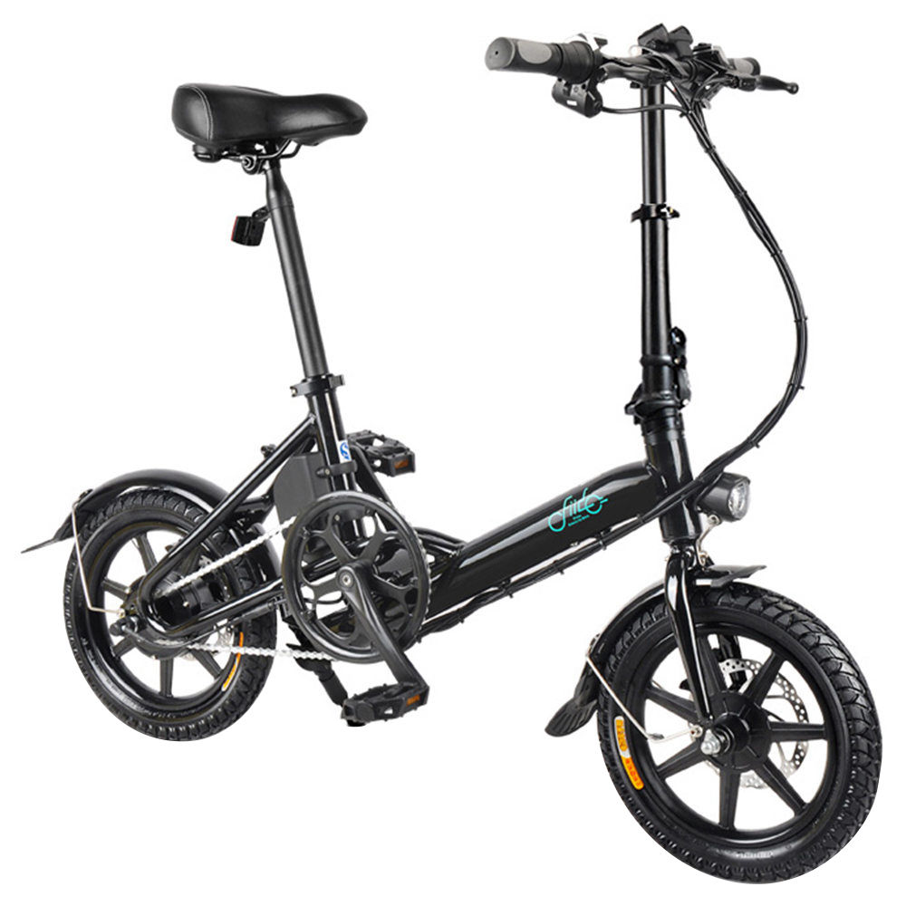 FIIDO D3 Folding Electric Moped Bike City Bike Commuter Bike Max 25km/h Three Riding Modes 5.2Ah Lithium Battery 14 Inch Tire - Black