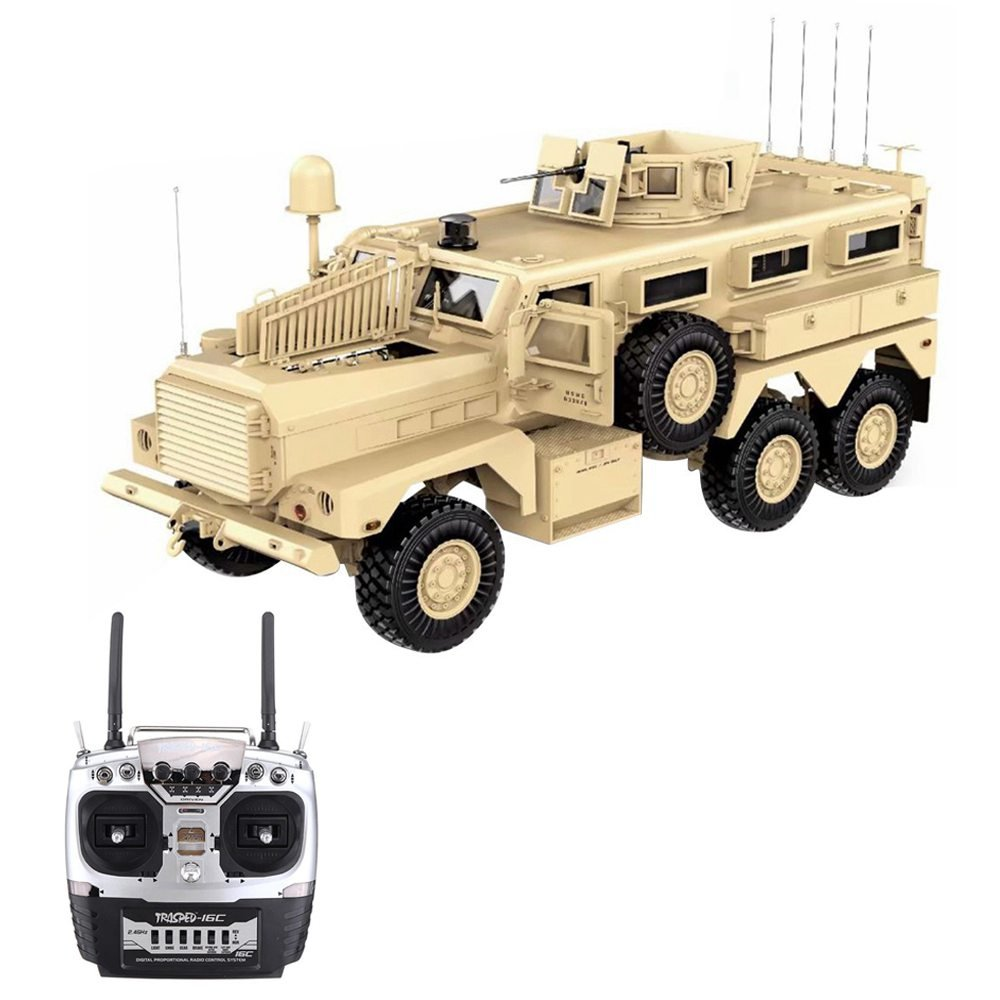 HG P602 Light Sound Function Version 1/12 2.4G 16CH 6WD 25km/h U.S.6X6 Explosion Proof Vehicle Truck RC Realistic Military Car Without Battery Charger - Khaki