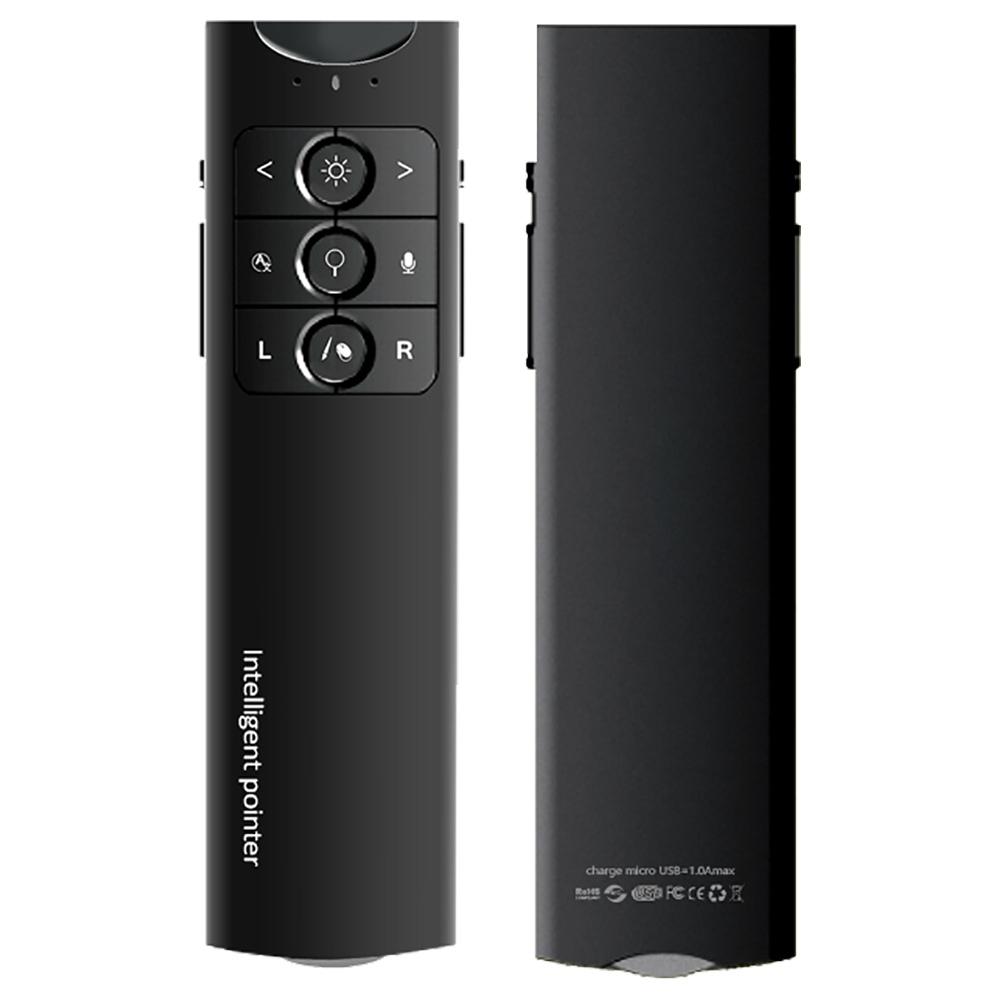 2.4G 1200 DPI Penna vocale intelligente wireless Puntatore intelligente Telecomando Trigger ottico Penna a vibrazione per proiezione PPT - Nero