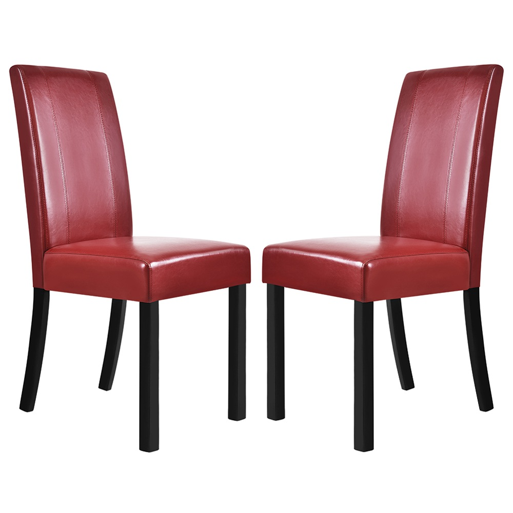 Set Of 2 Faux Leather Dining Chairs Red