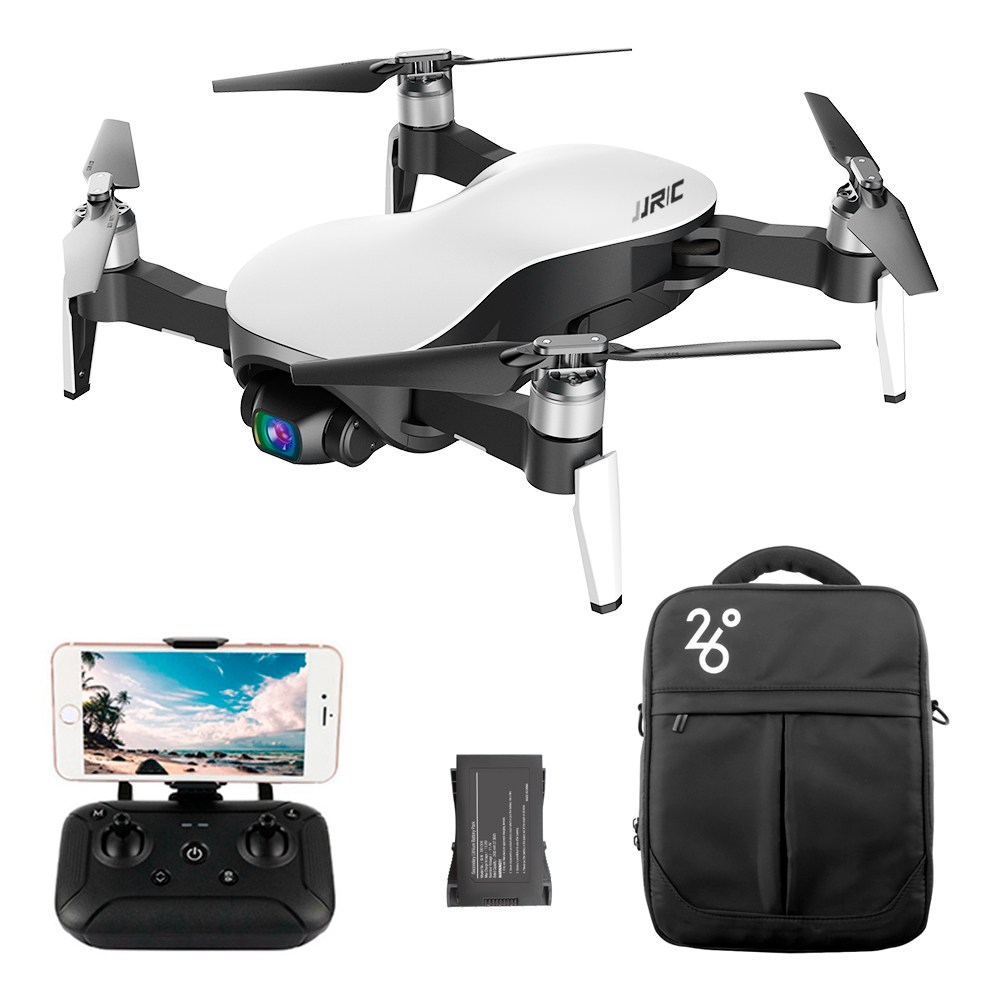JJRC X12 AURORA 5G WIFI 1.2km FPV GPS Foldable RC Drone With 1080P 3Axis Gimbal Ultrasonic Optical Flow Positioning RTF - White Two Batteries With Bag