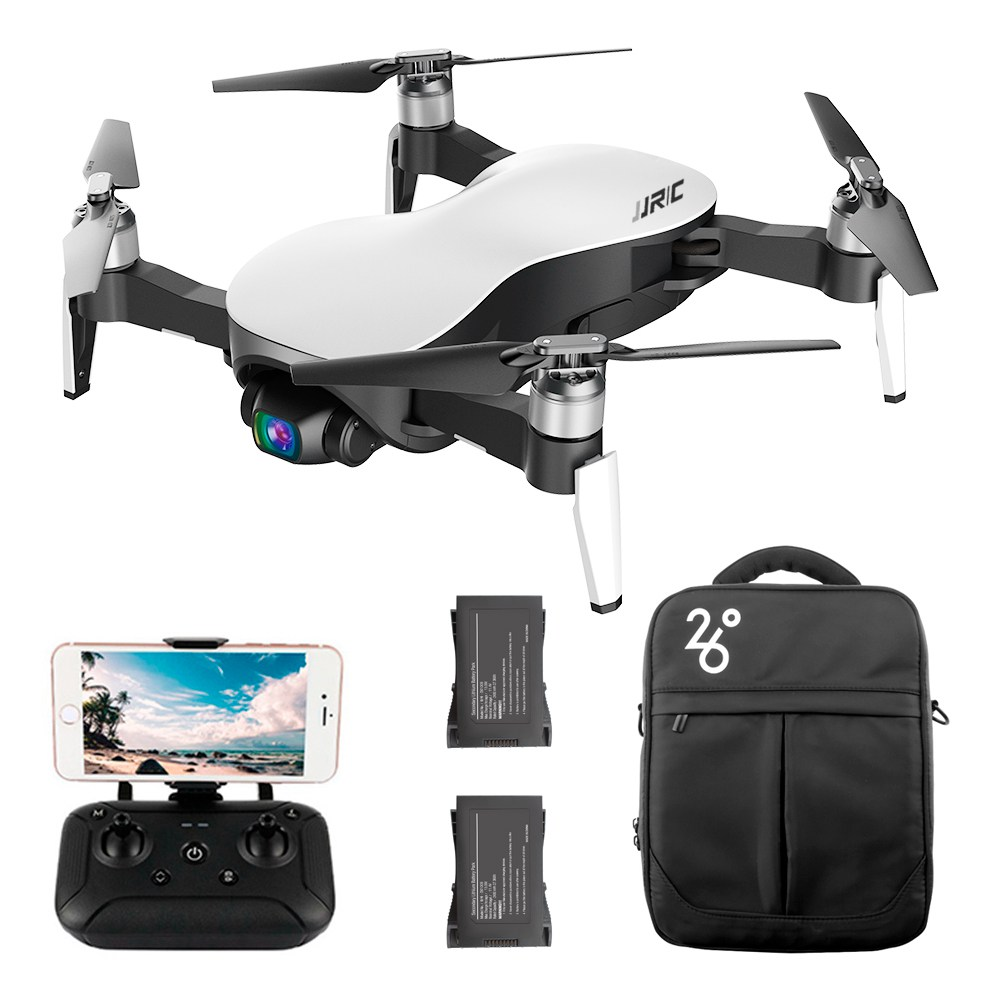 JJRC X12 AURORA 5G WIFI 1.2km FPV GPS Foldable RC Drone With 1080P 3Axis Gimbal Ultrasonic Optical Flow Positioning RTF - White Three Batteries With Bag