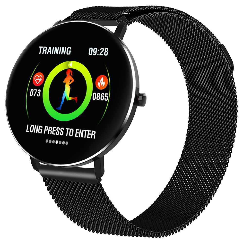 MAKIBES F25 ساعة ذكية 1.3 بوصة شاشة TFT معدل ضربات القلب ومراقبة ضغط الدم النوم ميلانو حزام شفط المغناطيسي - أسود