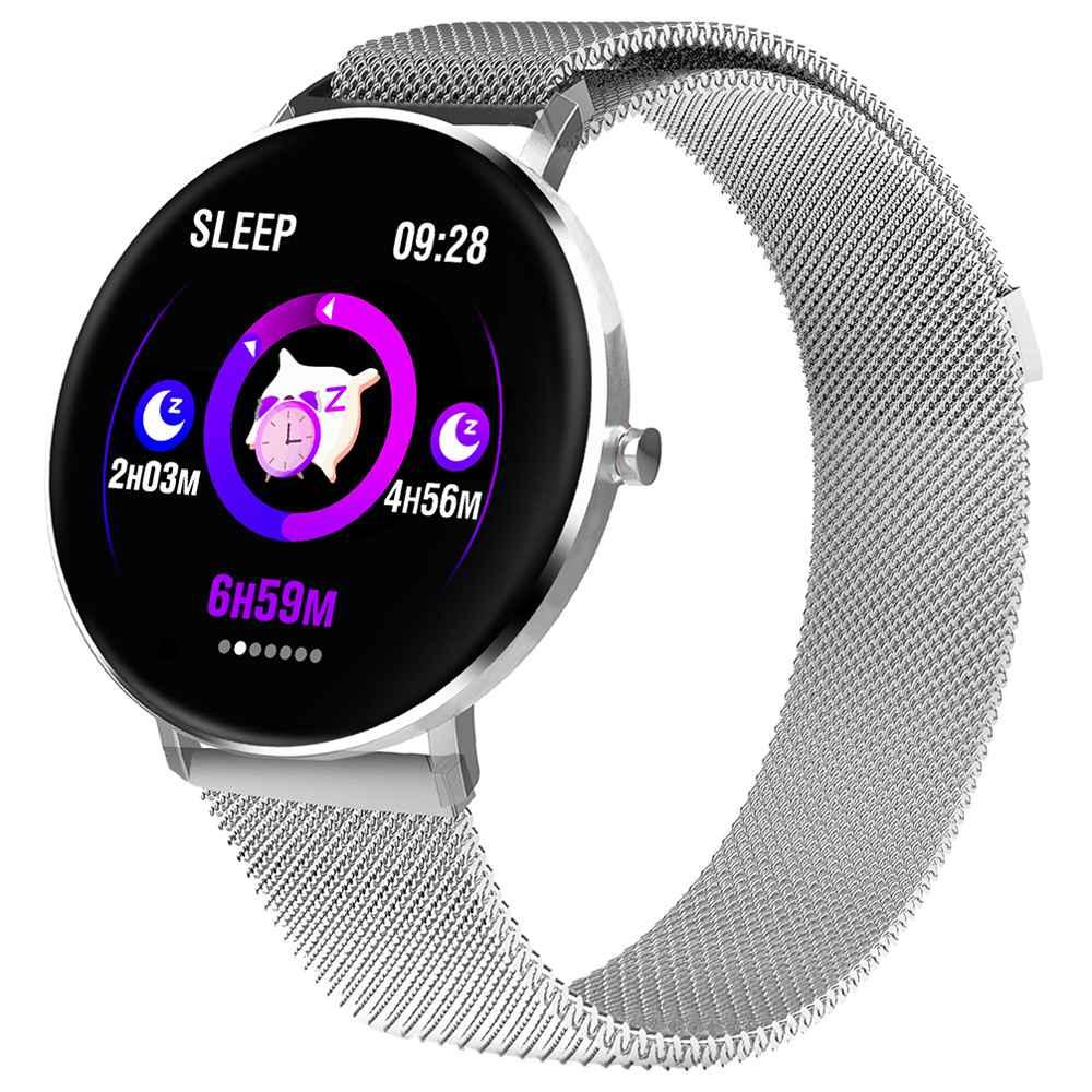 MAKIBES F25 ساعة ذكية 1.3 بوصة شاشة TFT معدل ضربات القلب ومراقبة ضغط الدم النوم ميلانو حزام شفط المغناطيسي - فضي