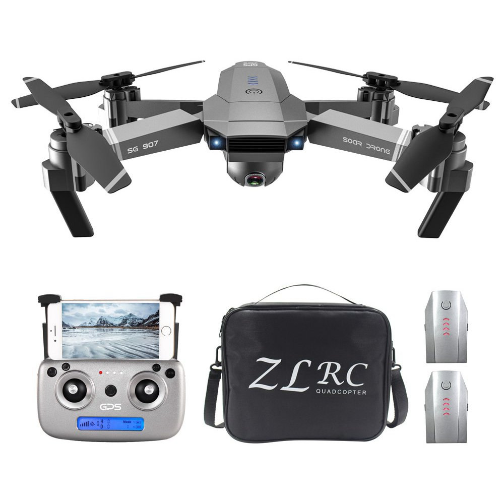 ZLRC SG907 4K 5G WIFI FPV GPS Foldable RC Drone With Adjustable 120 Degree Wide-angle Camera 50x Zoom Optical Flow Positioning RTF - Three Batteries With Bag