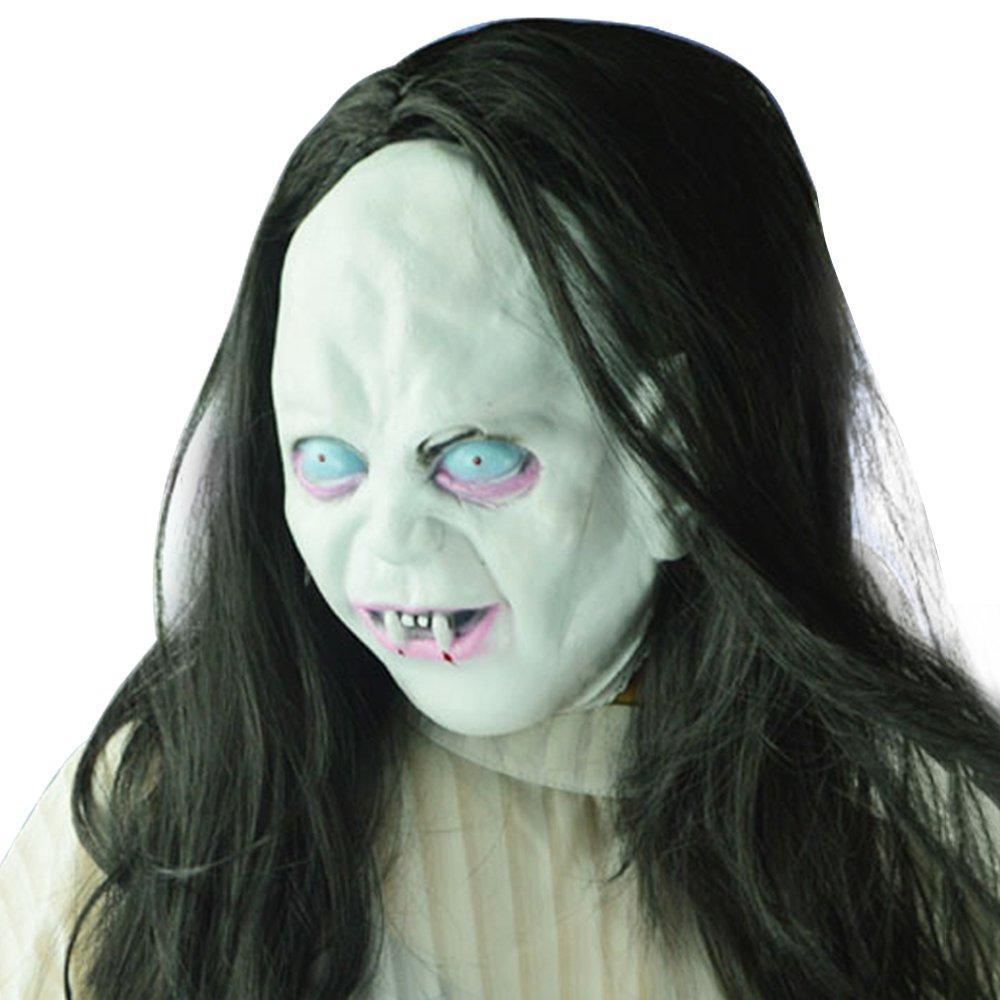 Horror maszk hosszú haj szellem zombi jelmez party Cosplay Halloween kellékek - fehér