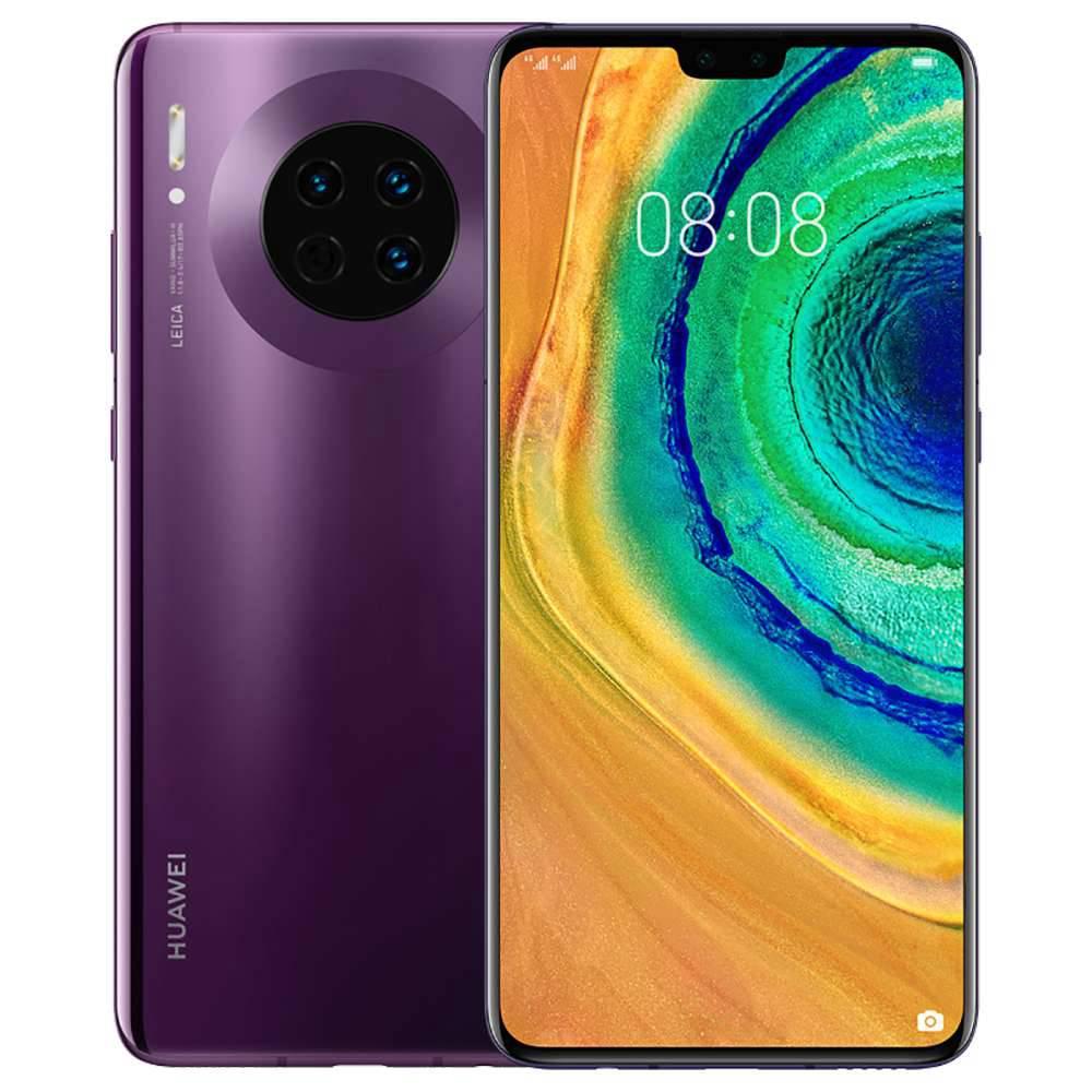 """HUAWEI Mate 30 CN Wersja 5G Smartfon 6.62 """"Wyświetlacz OLED Kirin 990 8 GB 128 GB 40.0 MP + 16.0 MP + 8.0 MP Potrójne aparaty tylne Leica NFC Identyfikator linii papilarnych Dual SIM Android 10.0 - Cosmic Purple"""