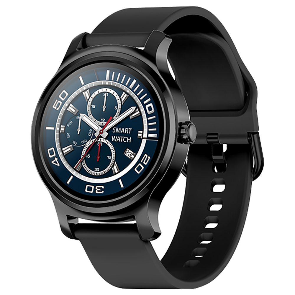 Makibes R2 ساعة ذكية 1.3 Inch IPS شاشة مستديرة IP67 رصد معدل ضغط الدم نداء رسالة تذكير مشغل موسيقى Black Silicone Strap Metal Frame - Black