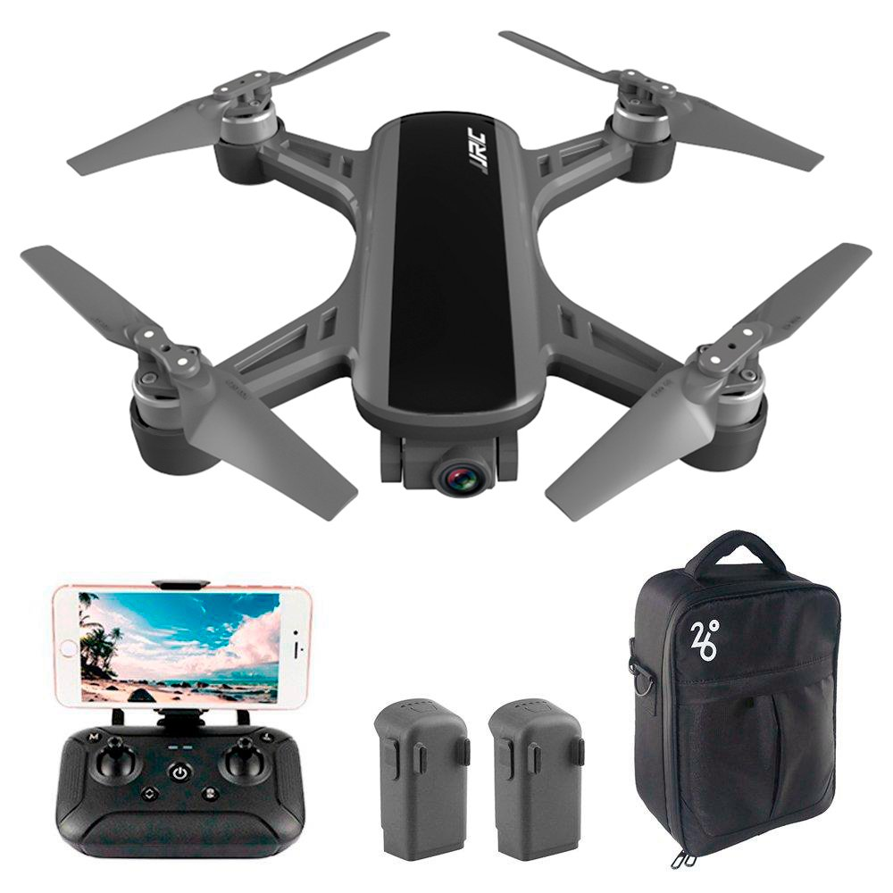 JJRC X9P Heron 4K Version 5G WIFI 1KM FPV GPS RC Drone With 2-Axis Gimbal 50X Digital Zoom Optical Flow Positioning RTF - Three Batteries With Bag