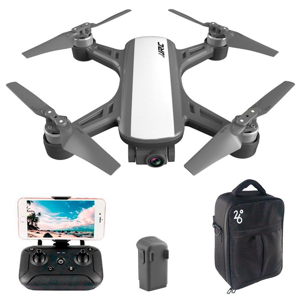 JJRC X9P Heron 4K Version 5G WIFI 1KM FPV GPS RC Drone With 2-Axis Gimbal 50X Digital Zoom Optical Flow Positioning RTF - White Two Batteries With Bag