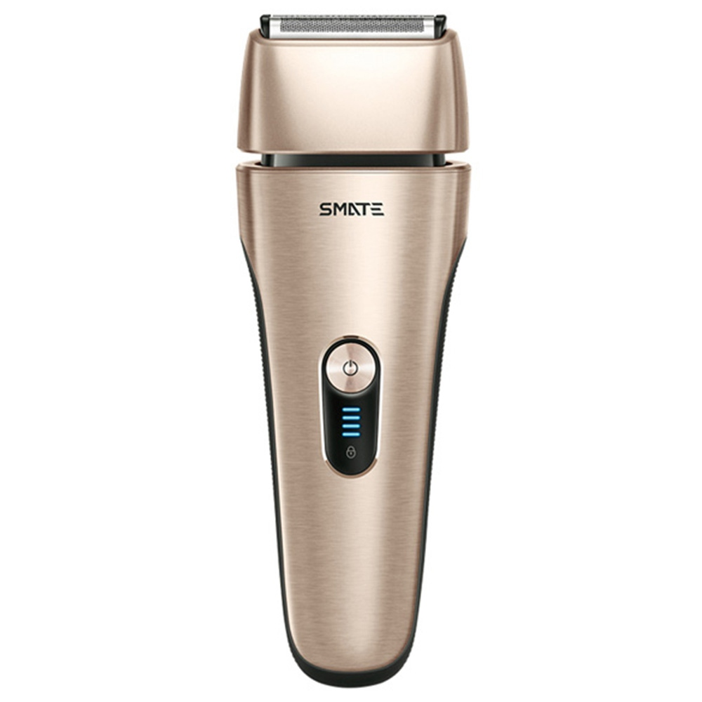 SMATE Electric Shaver Rechargeable IPX7 Waterproof  With 4 Blades Dry & Wet Useful For Men - Golden