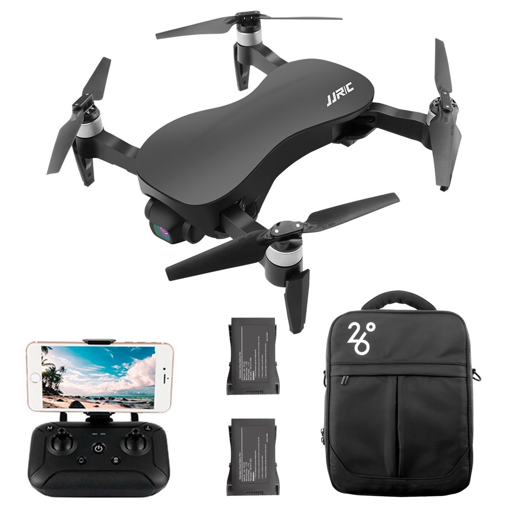 JJRC X12 AURORA 4K 5G WIFI 1.2km FPV GPS Foldable RC Drone With 3Axis Gimbal 50X Digital Zoom Ultrasonic Positioning RTF - Black Three Batteries with Bag